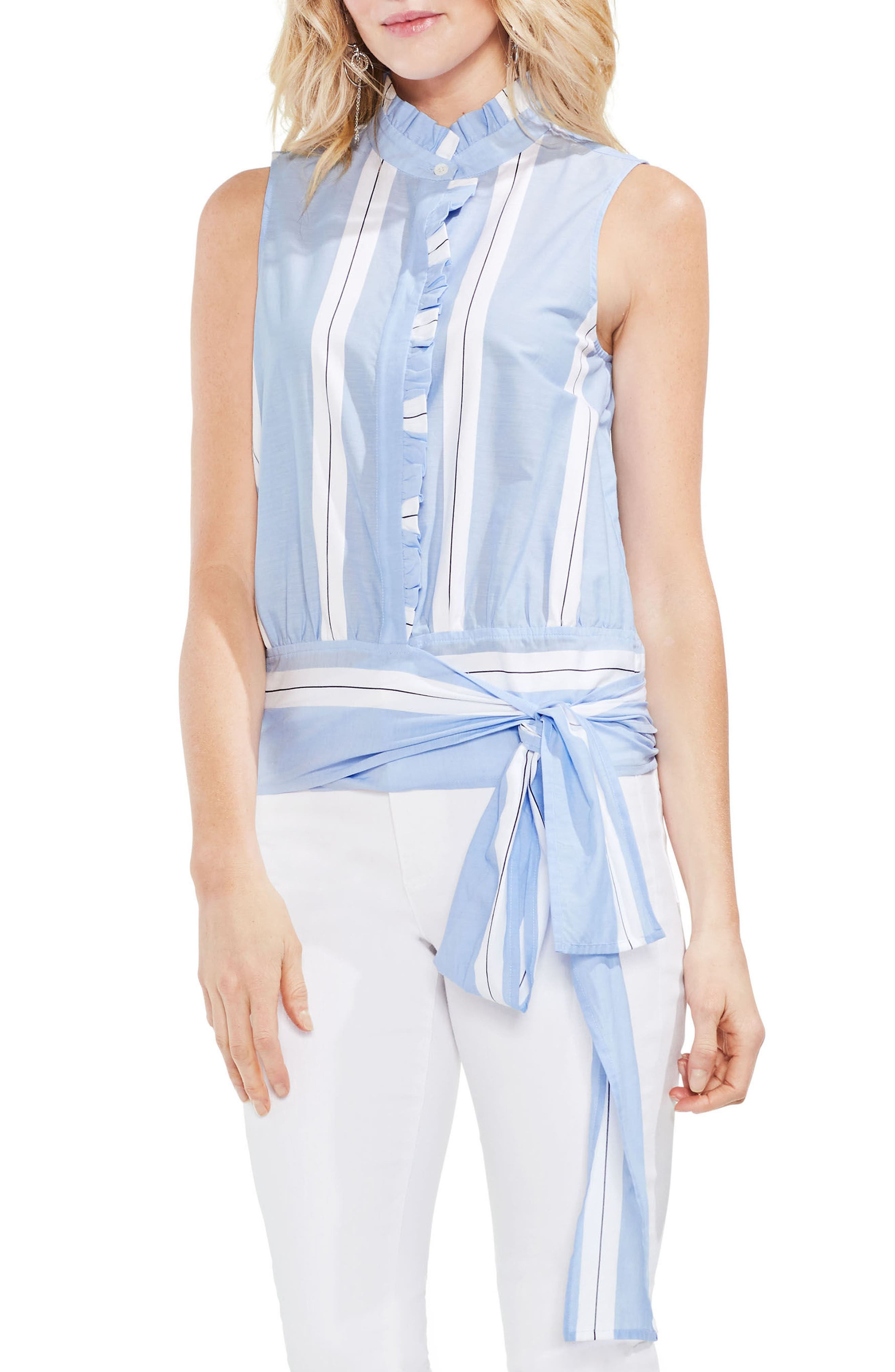 Tie Front Ruffle Sleeve Cotton Blouse,                             Main thumbnail 1, color,                             Ultra White