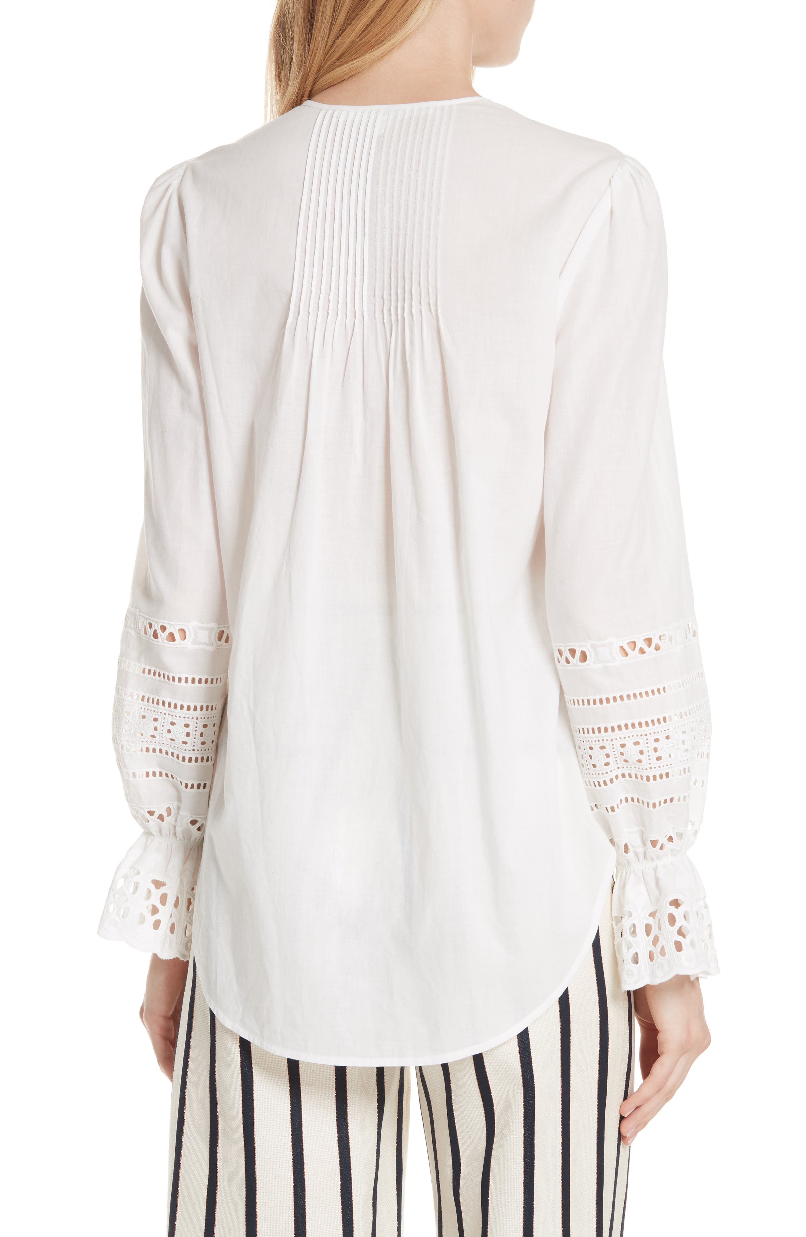 Mili Eyelet Sleeve Top,                             Alternate thumbnail 2, color,                             White