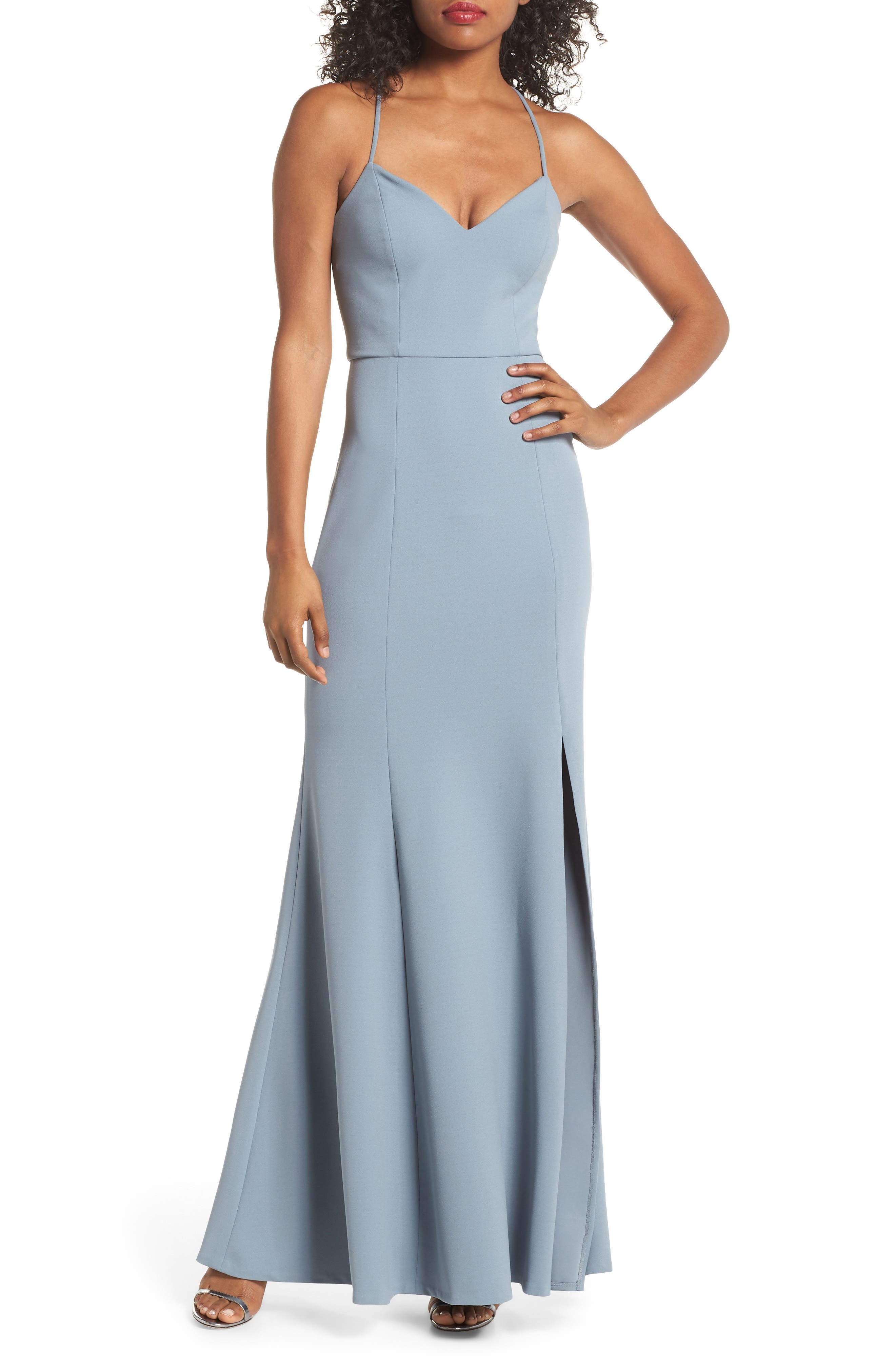 JENNY YOO Reese Crepe Knit Gown in Mayan Blue