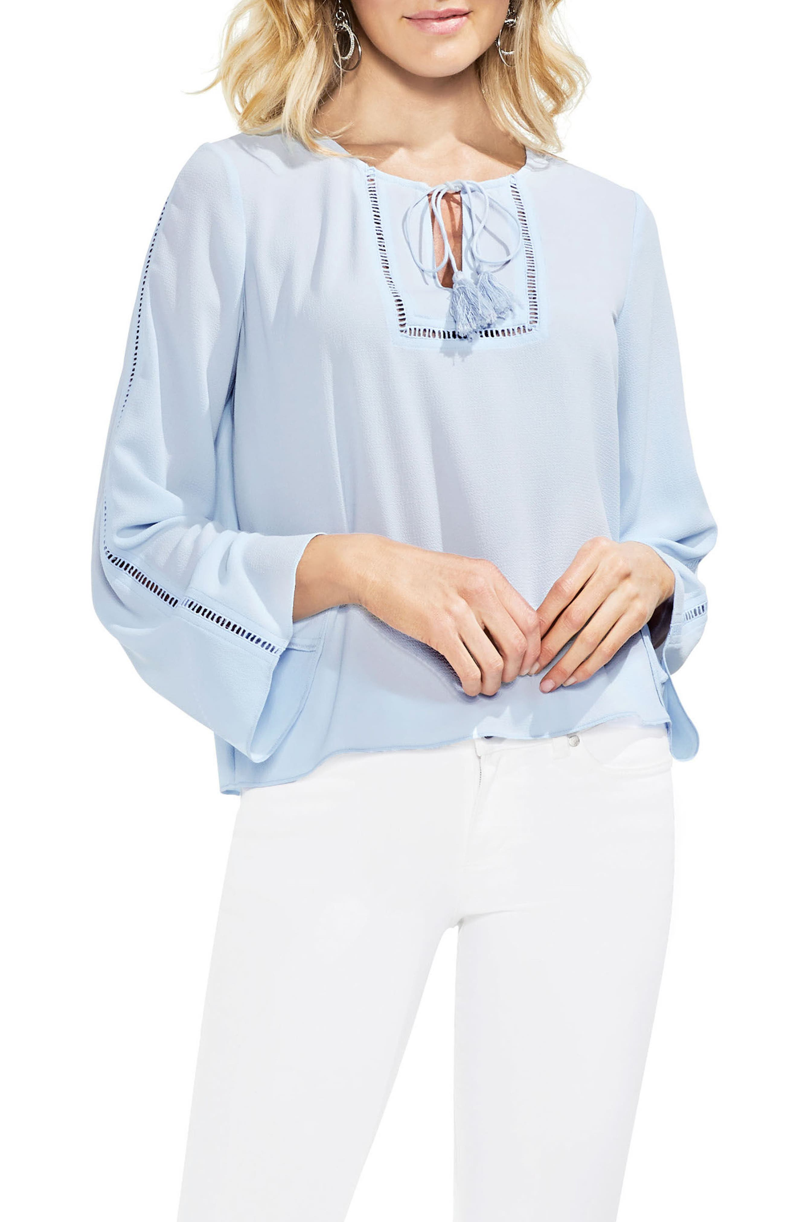 Bell Sleeve Blouse,                             Main thumbnail 1, color,                             Dew Blue