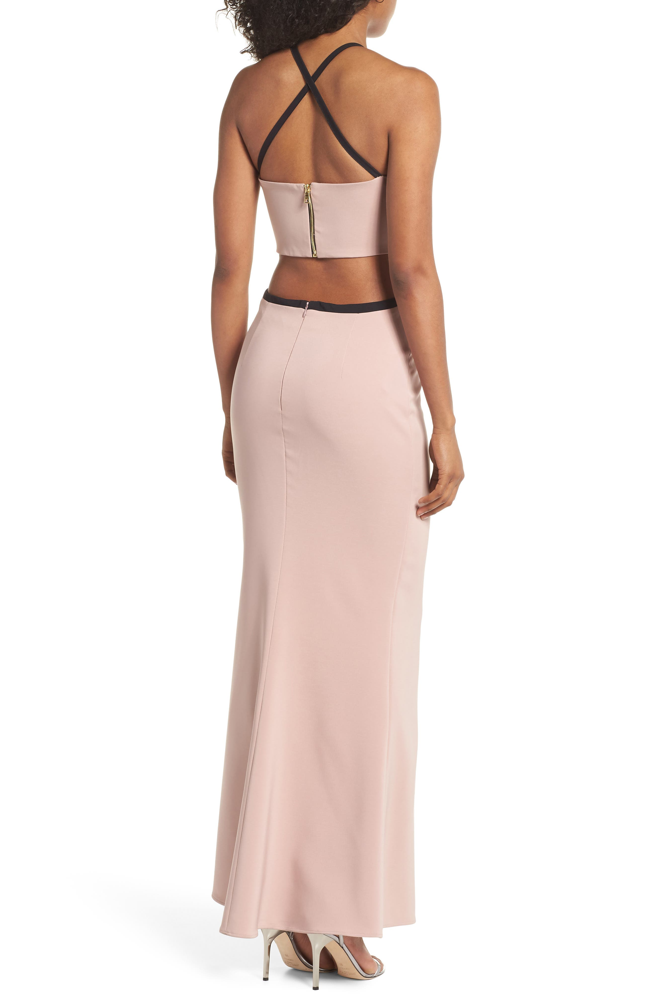 Chloe Bodice Cutout Gown,                             Alternate thumbnail 2, color,                             Blush