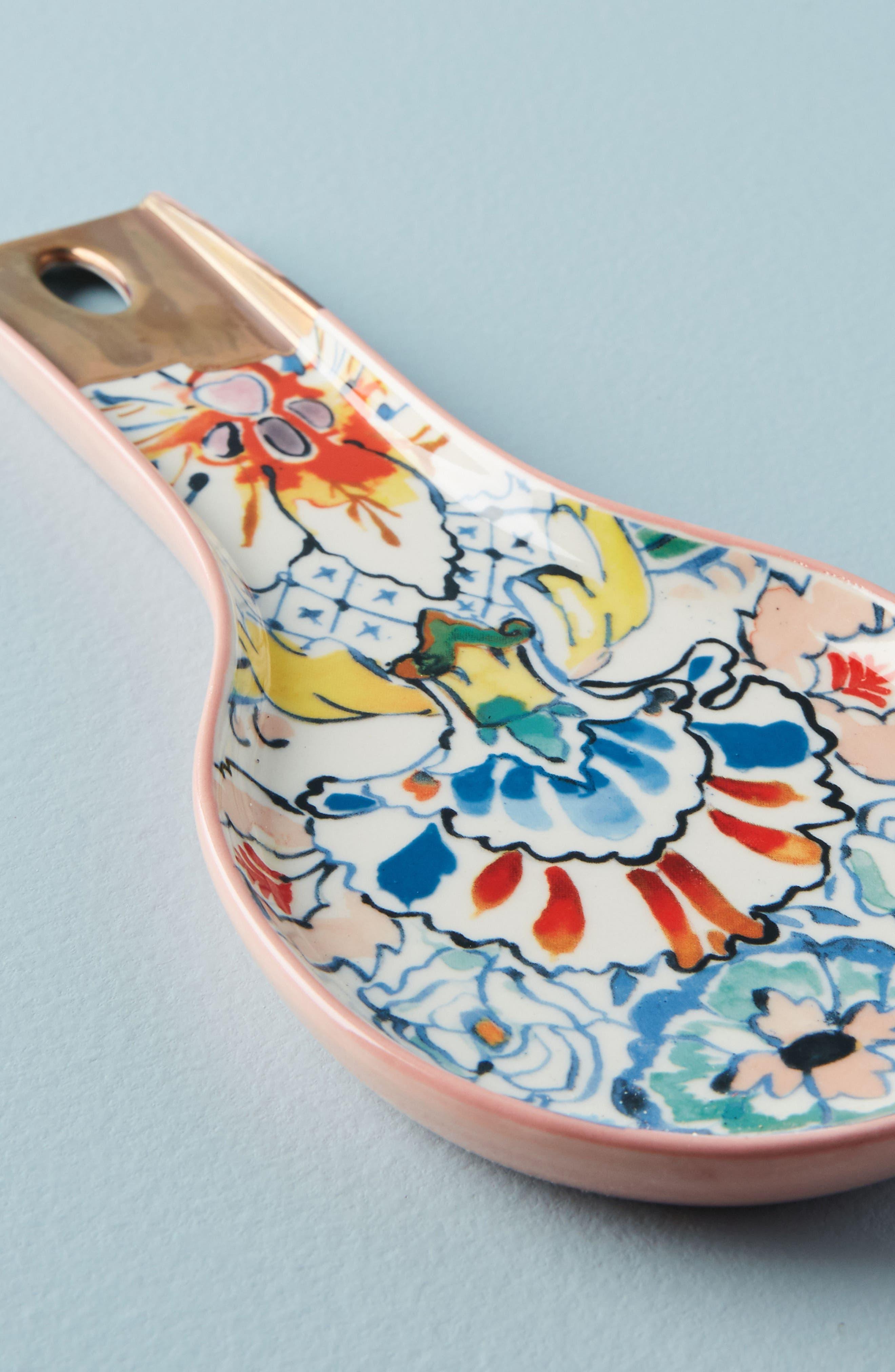 Eres Stoneware Spoon Rest,                             Alternate thumbnail 2, color,                             White Multi