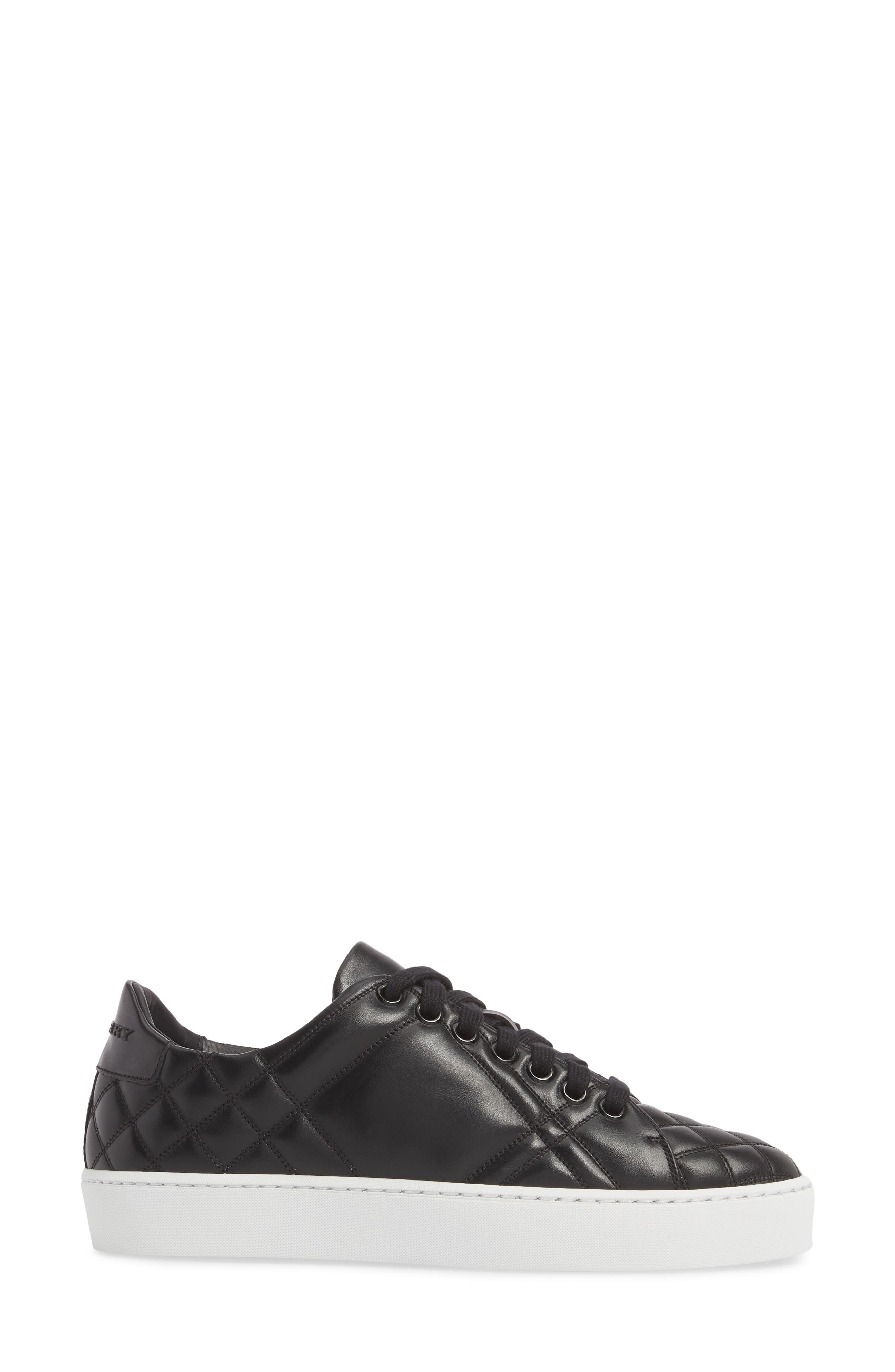 Check Quilted Leather Sneaker,                             Alternate thumbnail 3, color,                             Black Leather