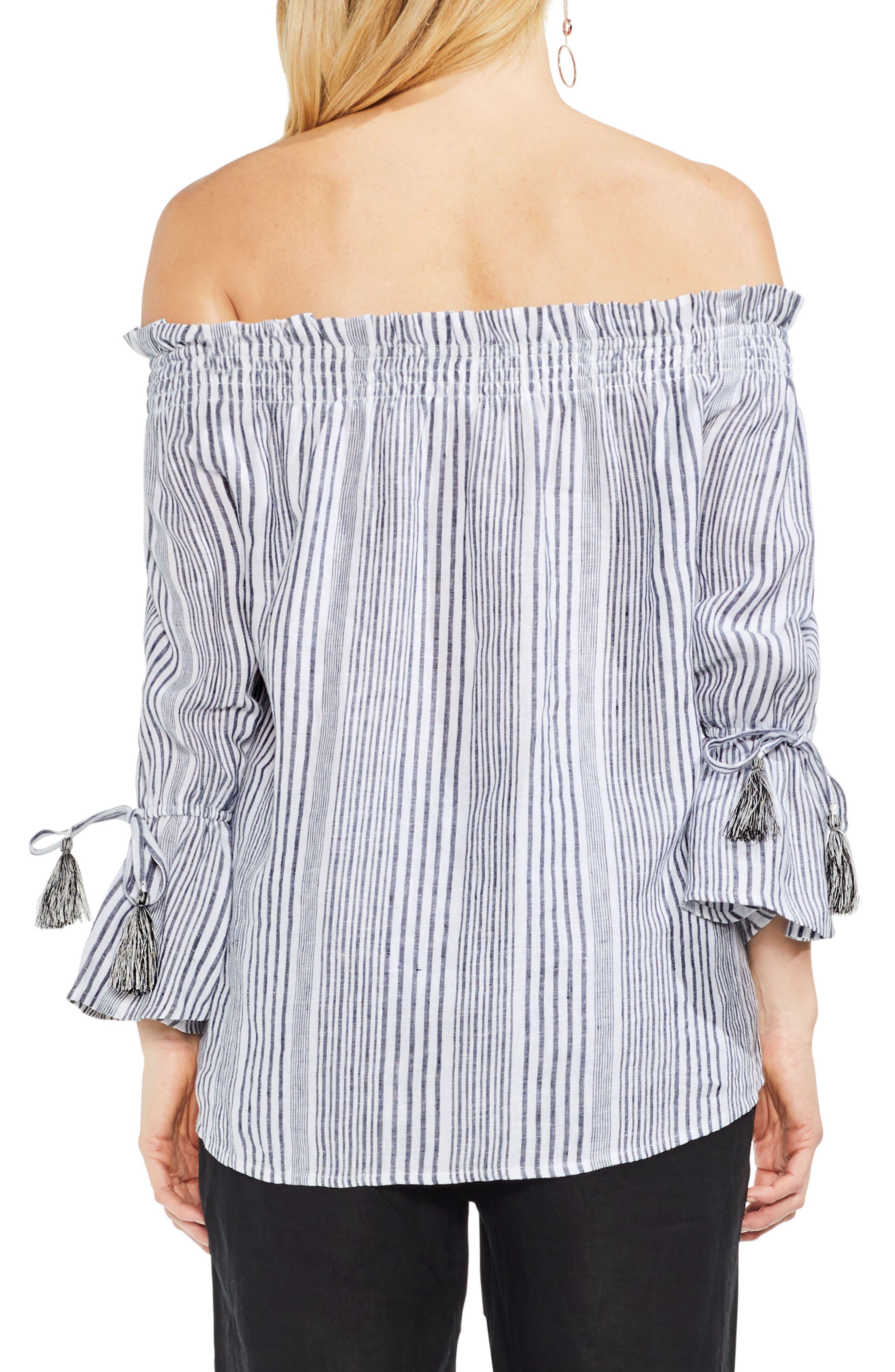 Linen Stripe Statement Sleeve Top,                             Alternate thumbnail 2, color,                             Rich Black
