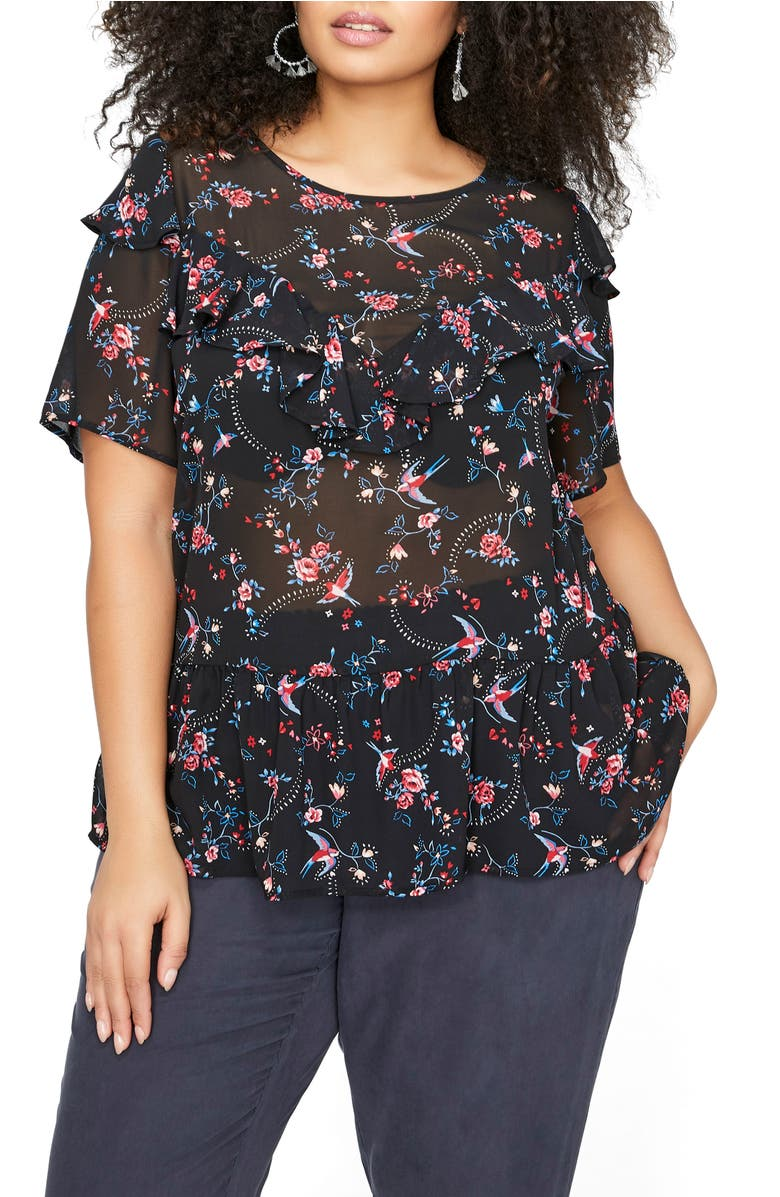 Ruffle Sheer Floral Top,                         Main,                         color, Birds Floral Combo
