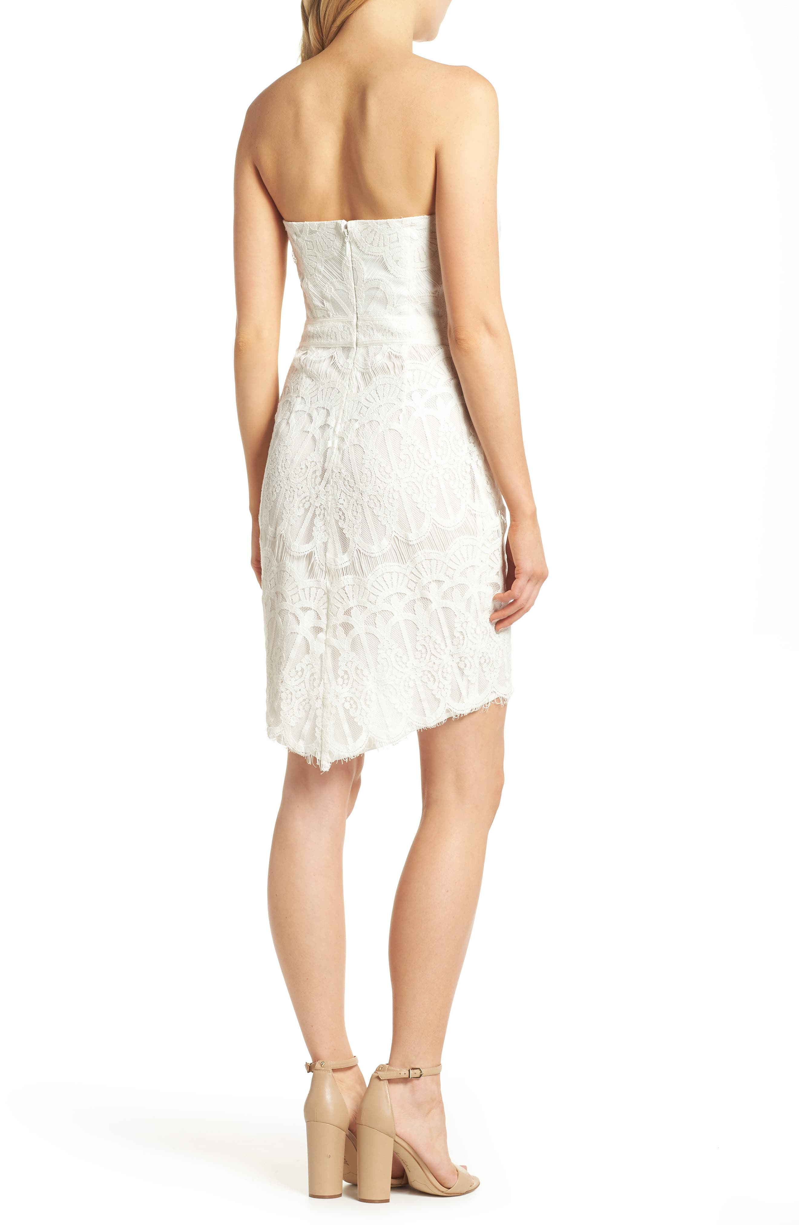 Strapless Lace Dress,                             Alternate thumbnail 2, color,                             White