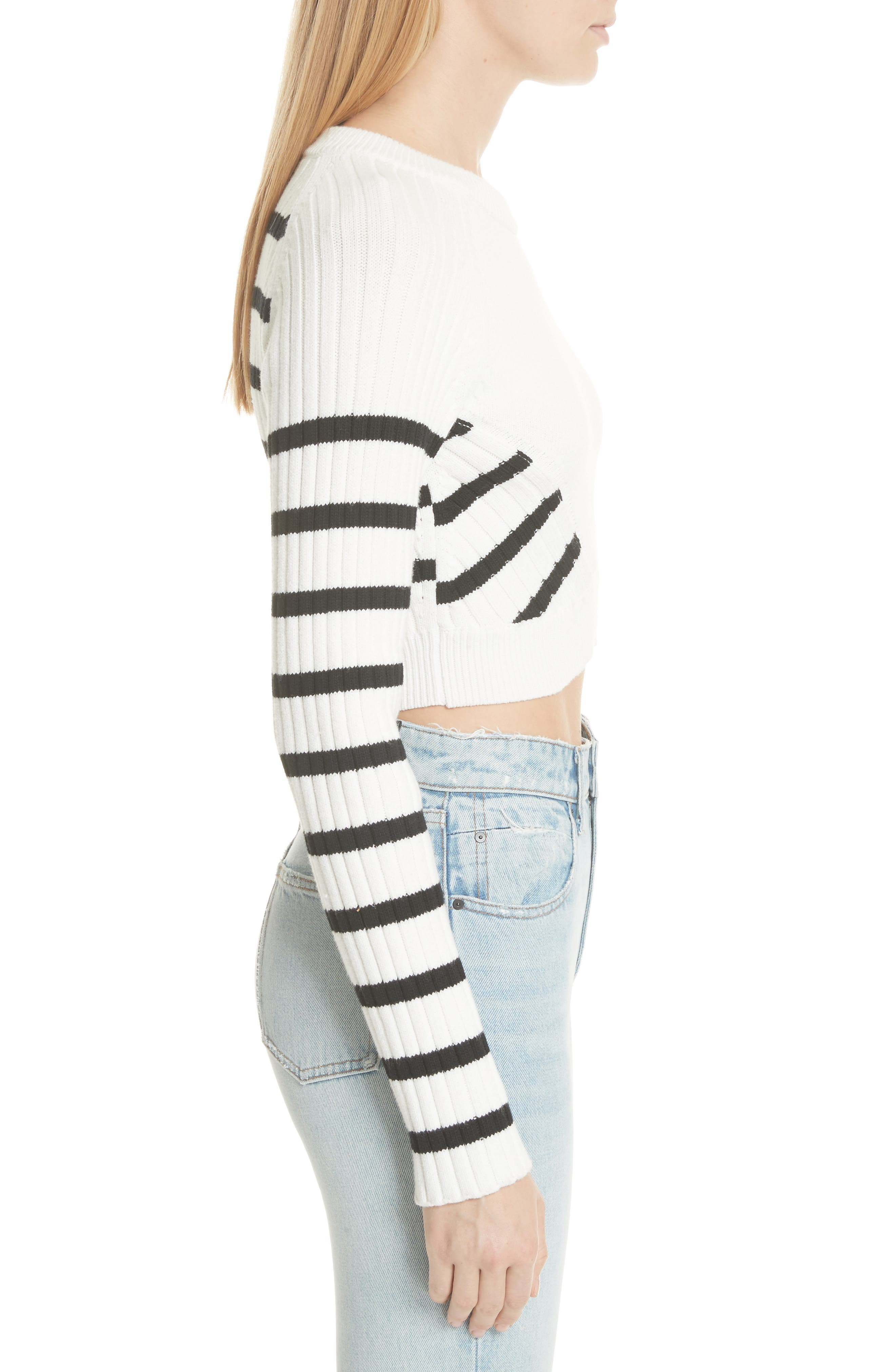 Multistripe Crop Sweater,                             Alternate thumbnail 3, color,                             White/ Black