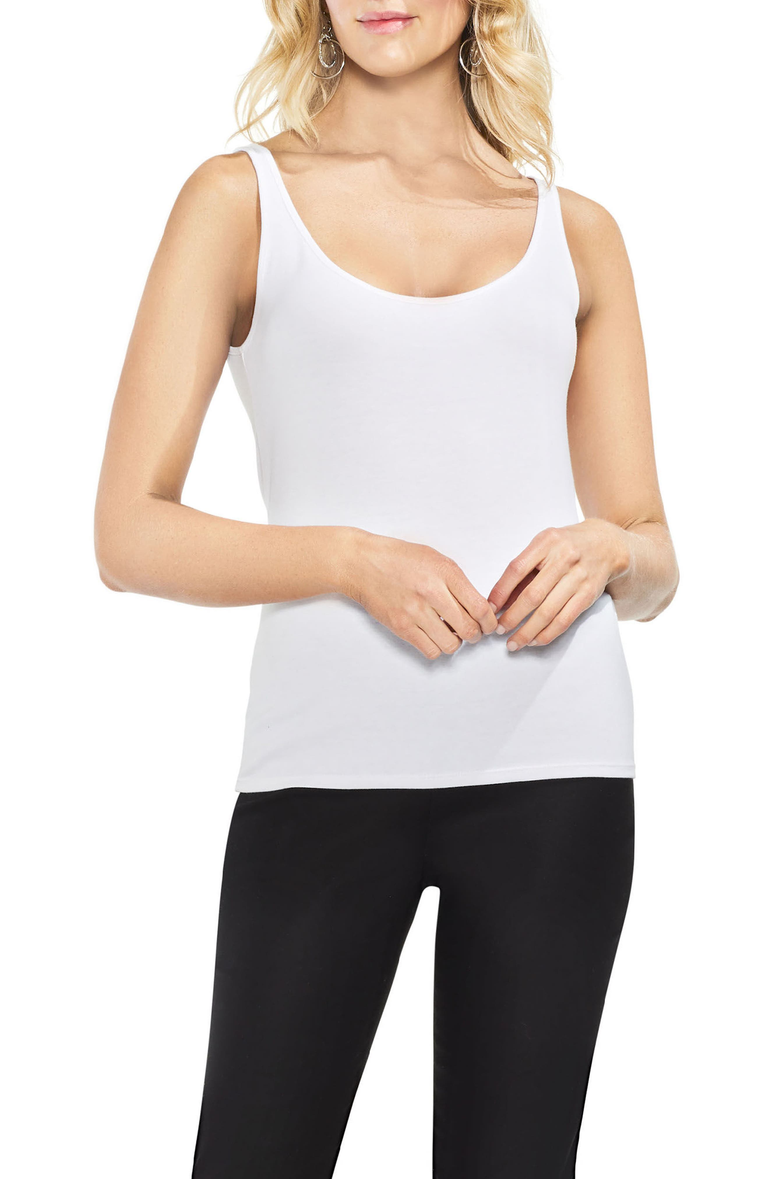 Sleeveless Tank Top,                         Main,                         color, Ultra White