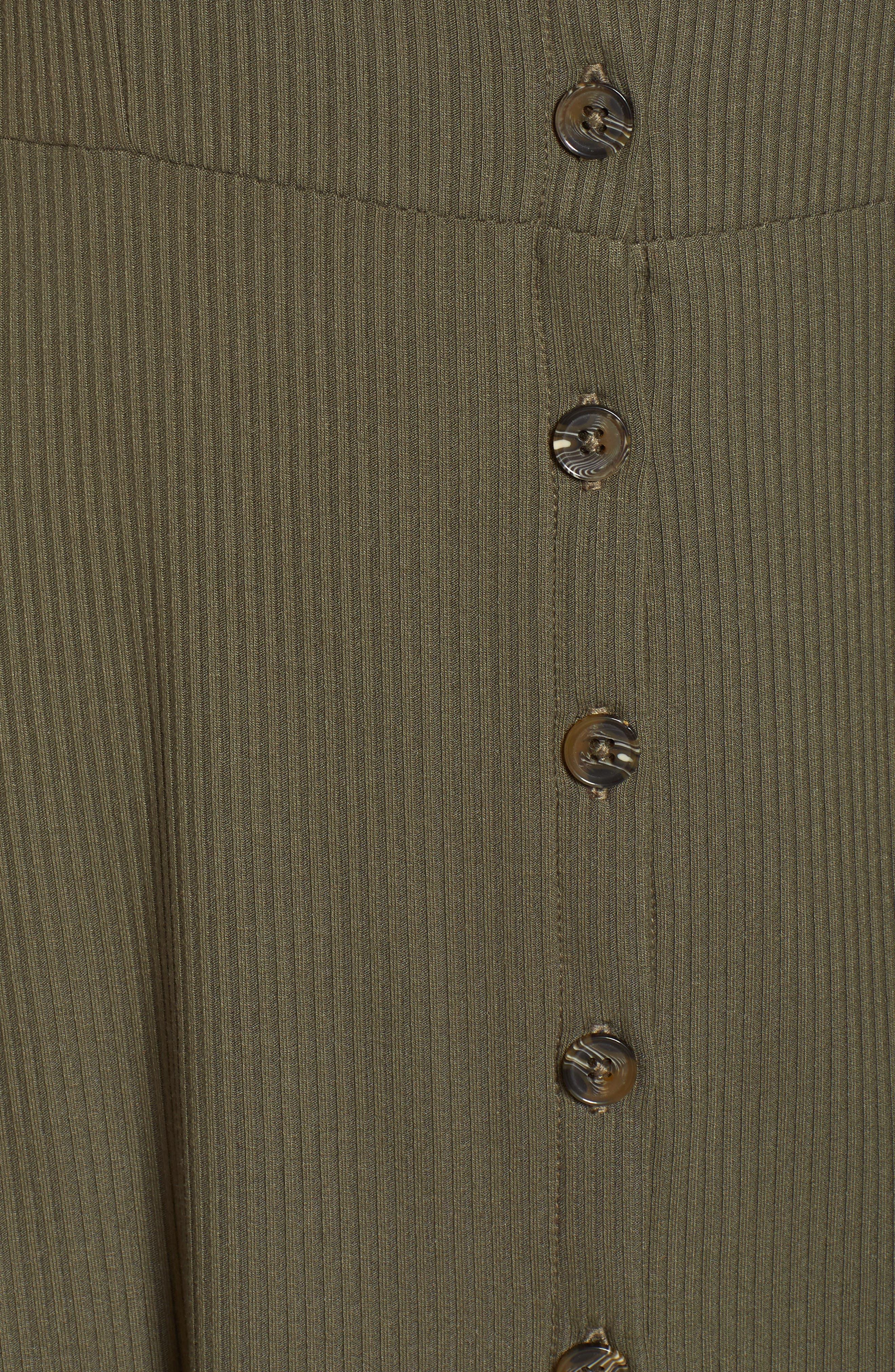 Button Down Rib Minidress,                             Alternate thumbnail 6, color,                             Olive