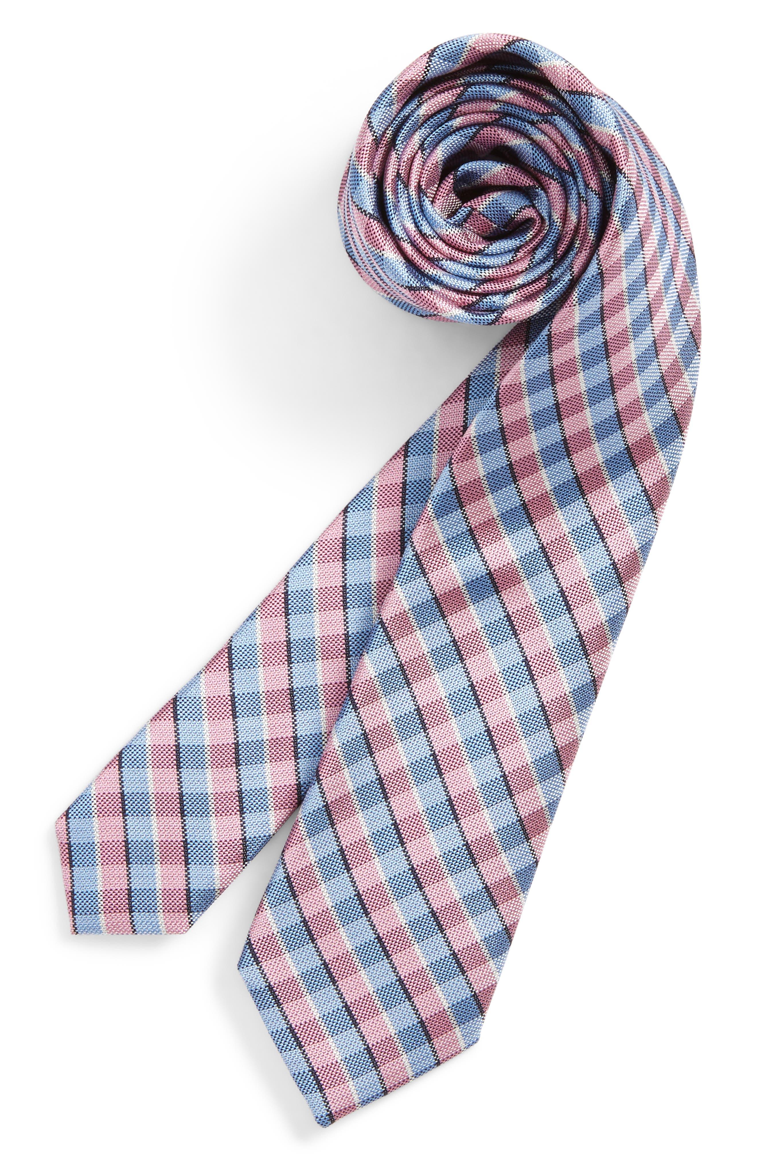 Circus Check Silk Tie,                         Main,                         color, Pink