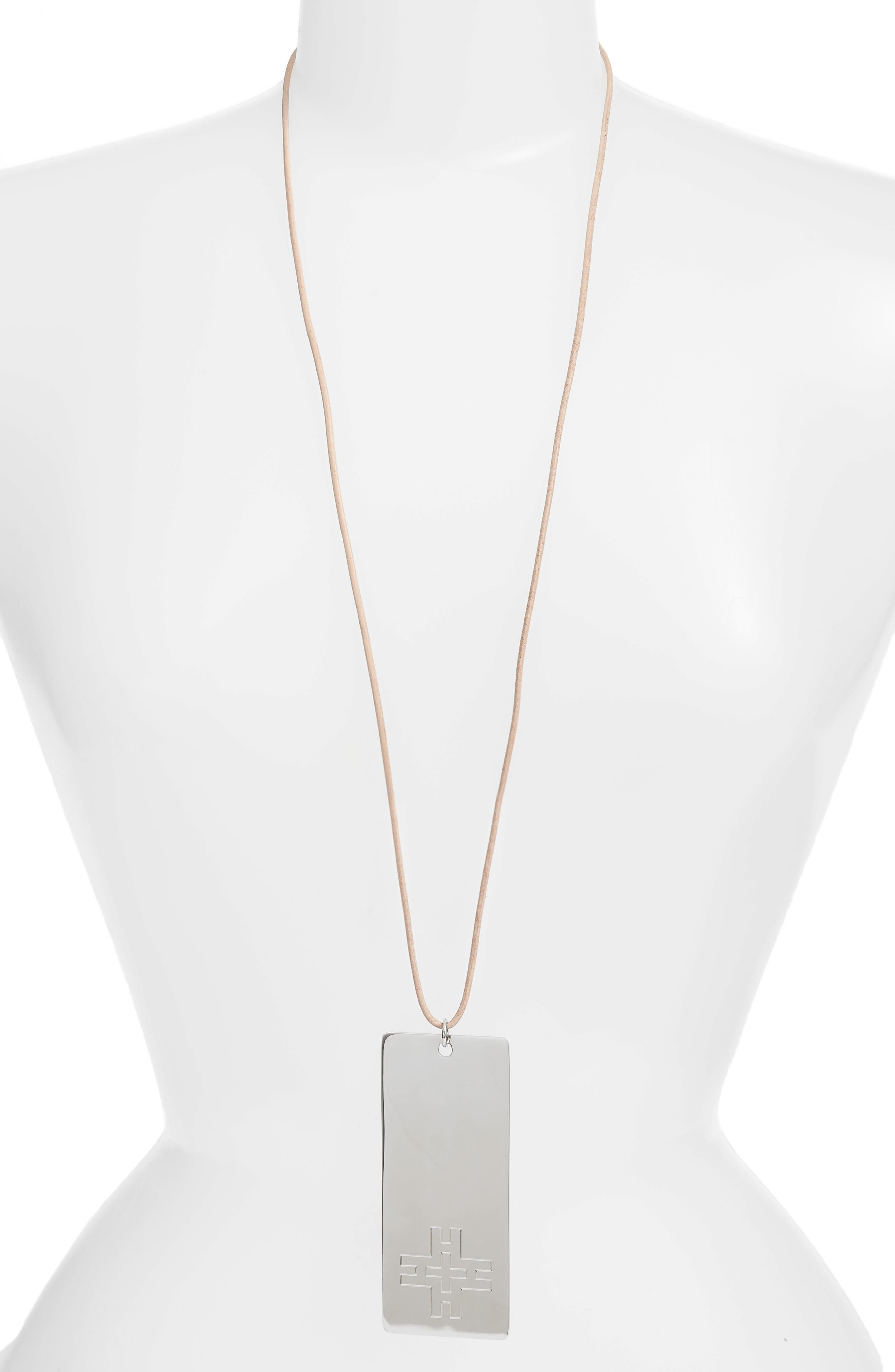 Hicks Dog Tag Necklace,                         Main,                         color, Tory Silver