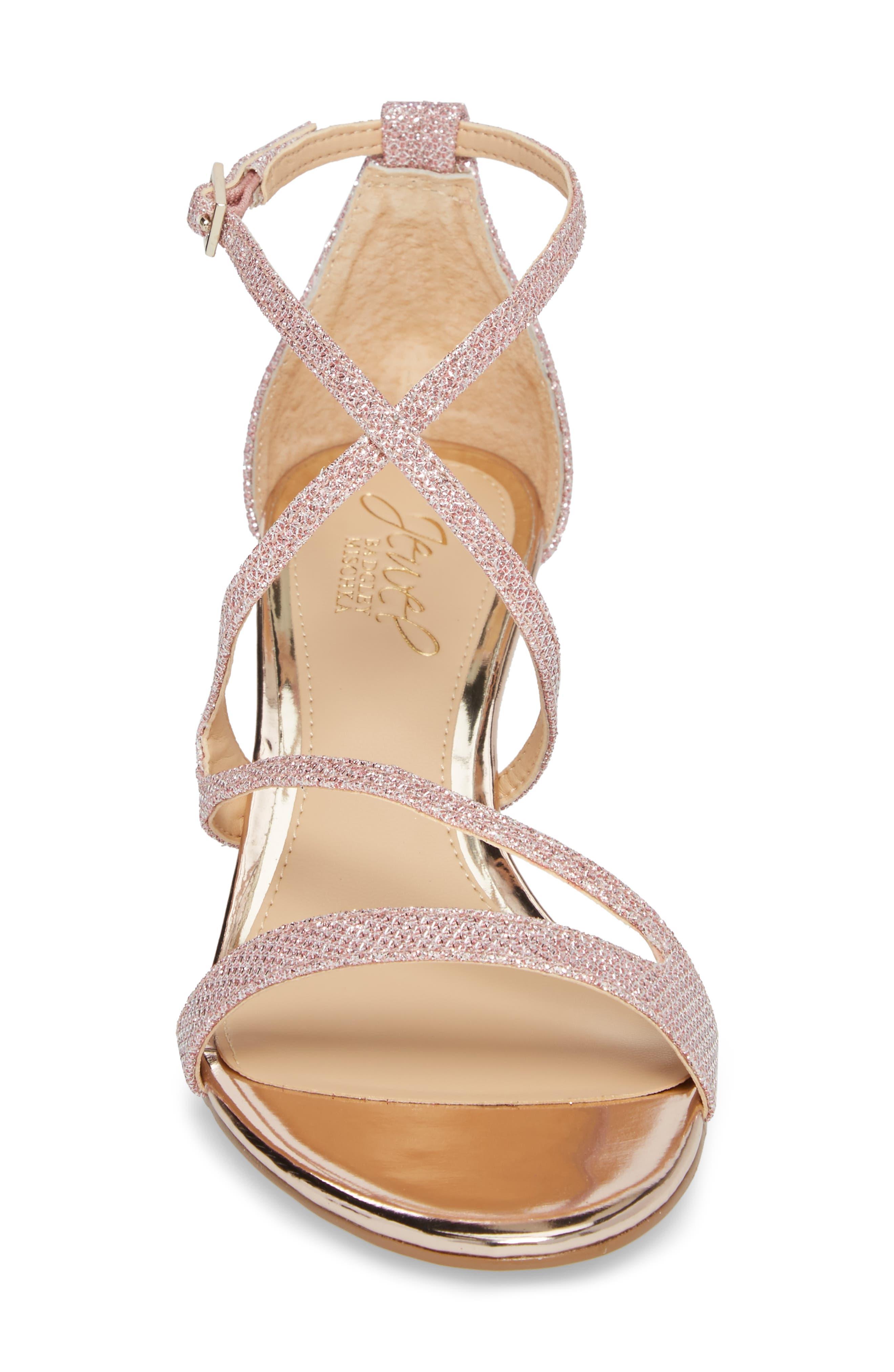 Gal Glitter Kitten Heel Sandal,                             Alternate thumbnail 4, color,                             Rose Gold Glitter Fabric