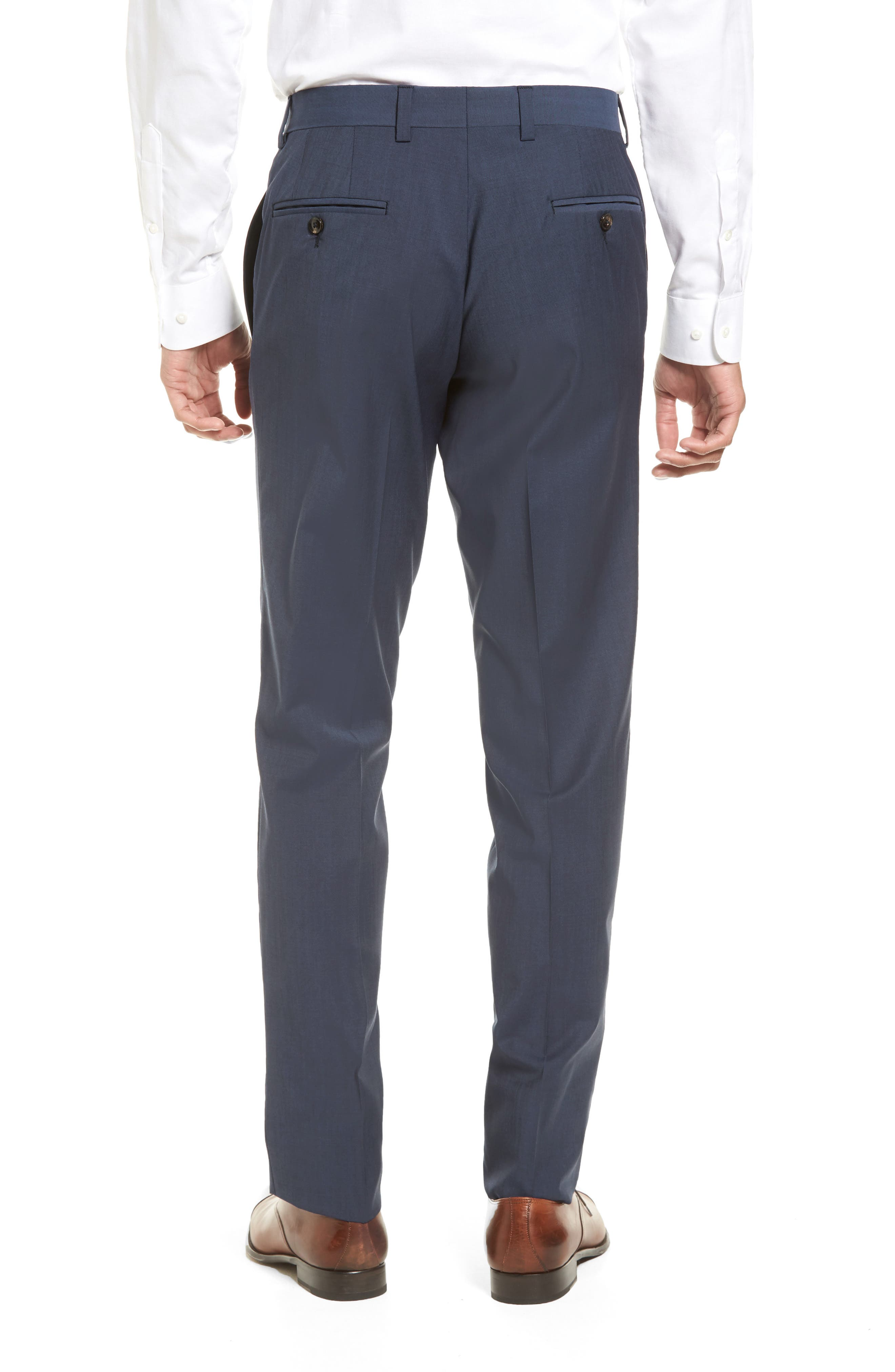 Jefferson Flat Front Stretch Wool Trousers,                             Alternate thumbnail 2, color,                             Blue