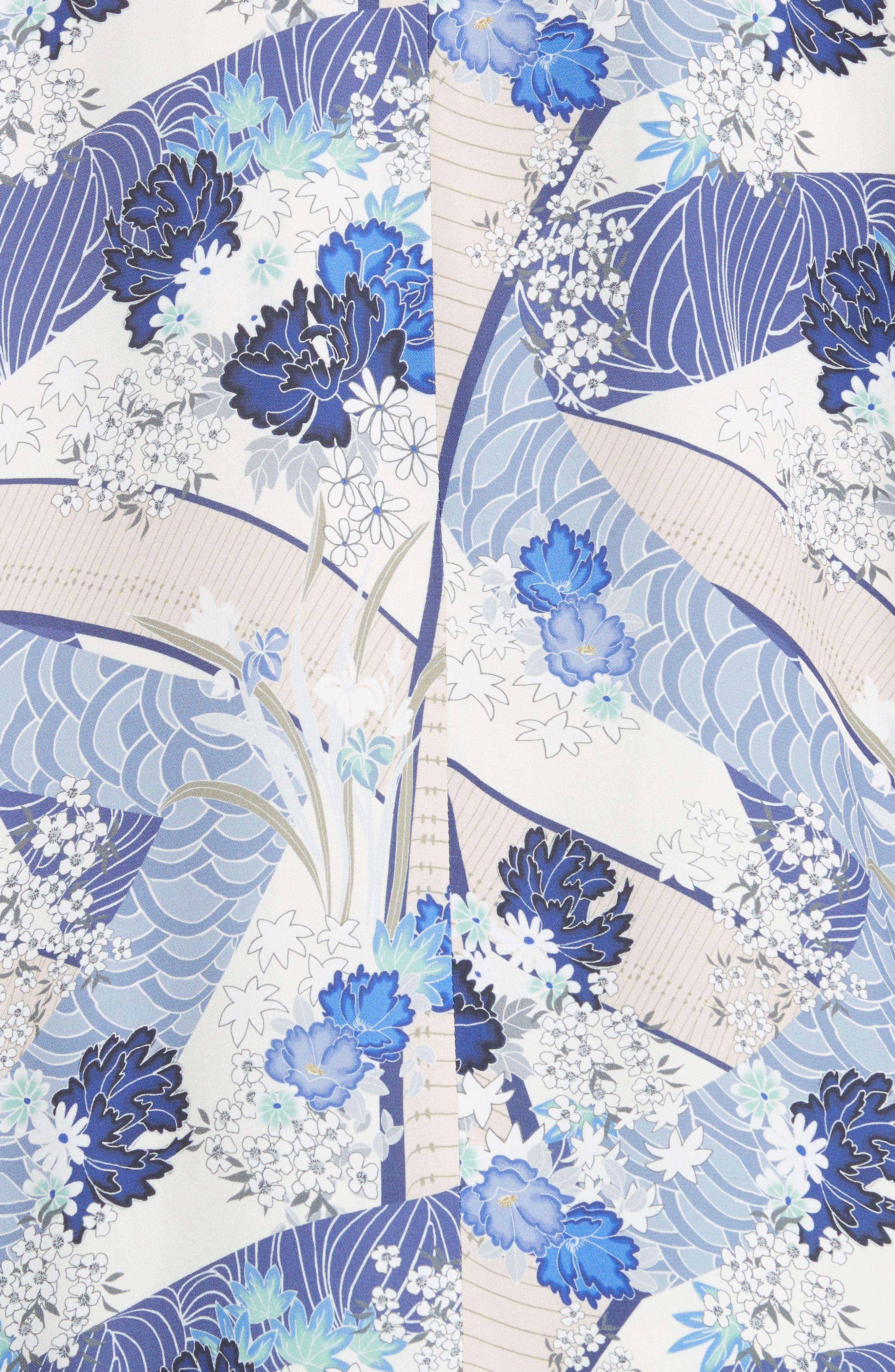 Drew Floral Print Kimono Jacket,                             Alternate thumbnail 5, color,                             Blue Floral