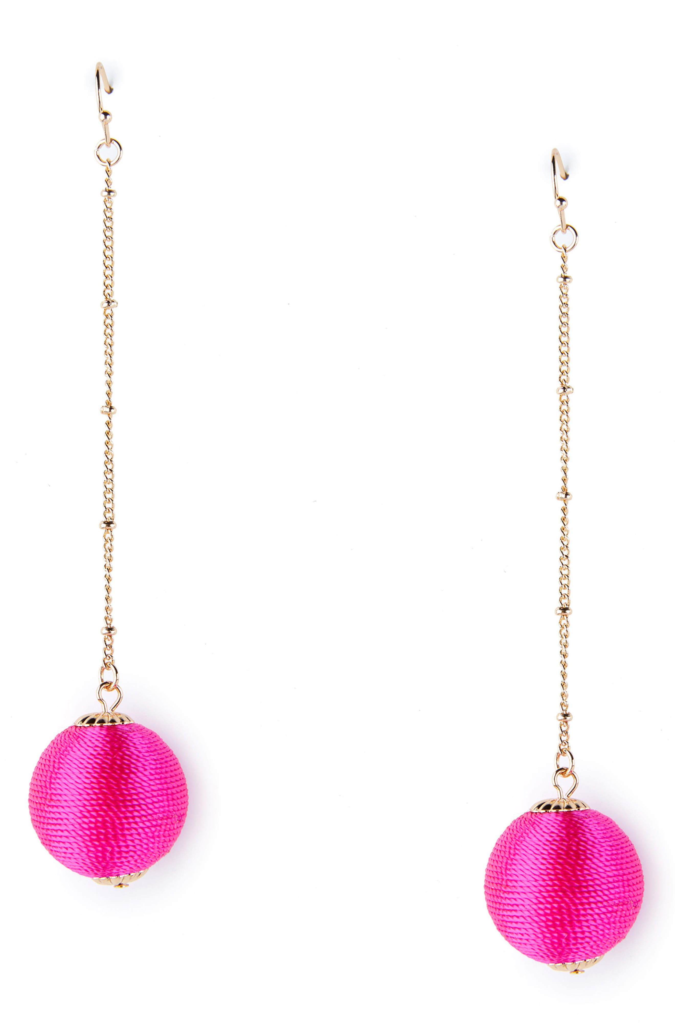 Floating Sphere Drop Earrings,                             Main thumbnail 1, color,                             Fuschia