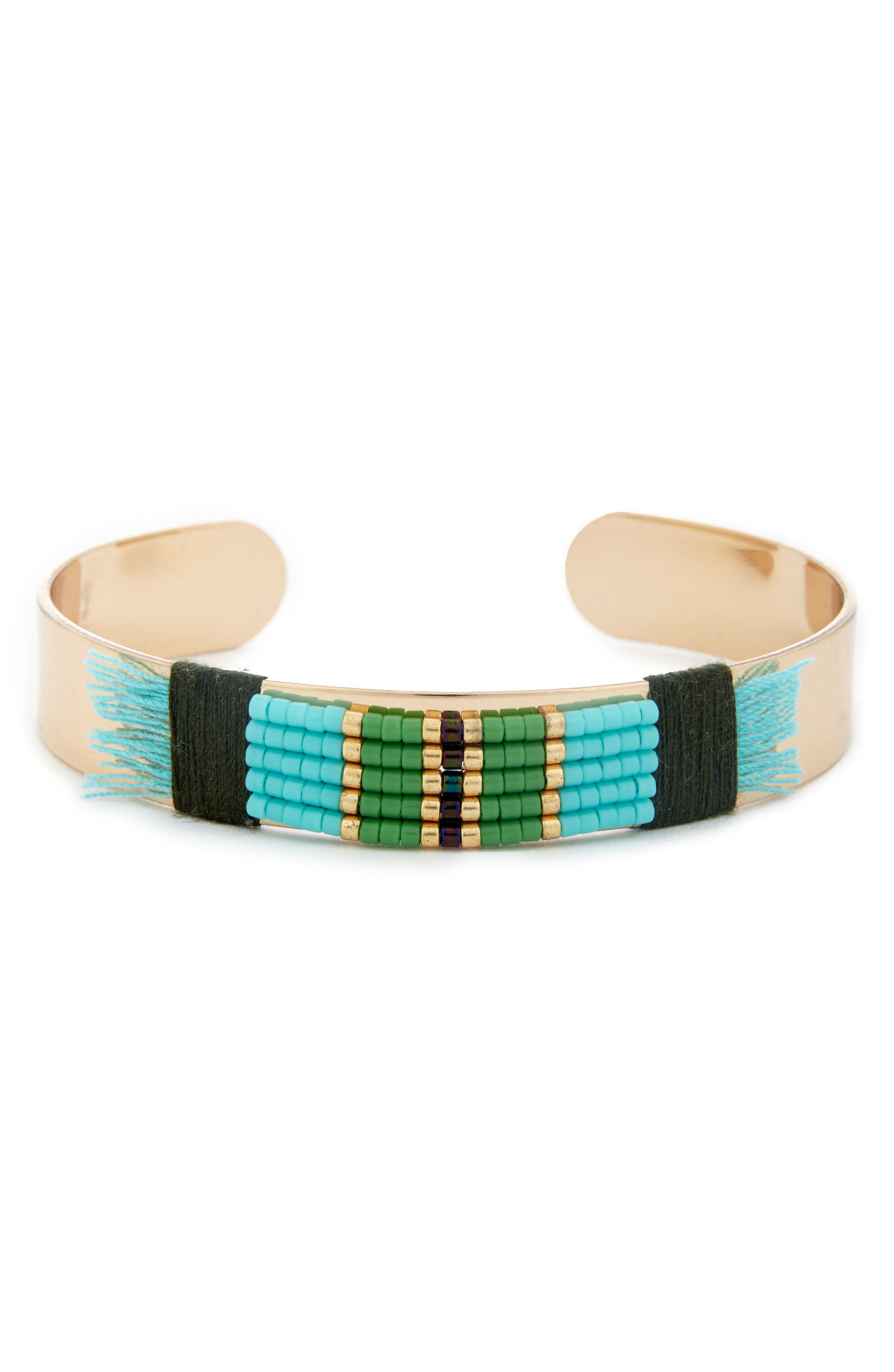 Sole Society Global Beaded Cuff Bracelet