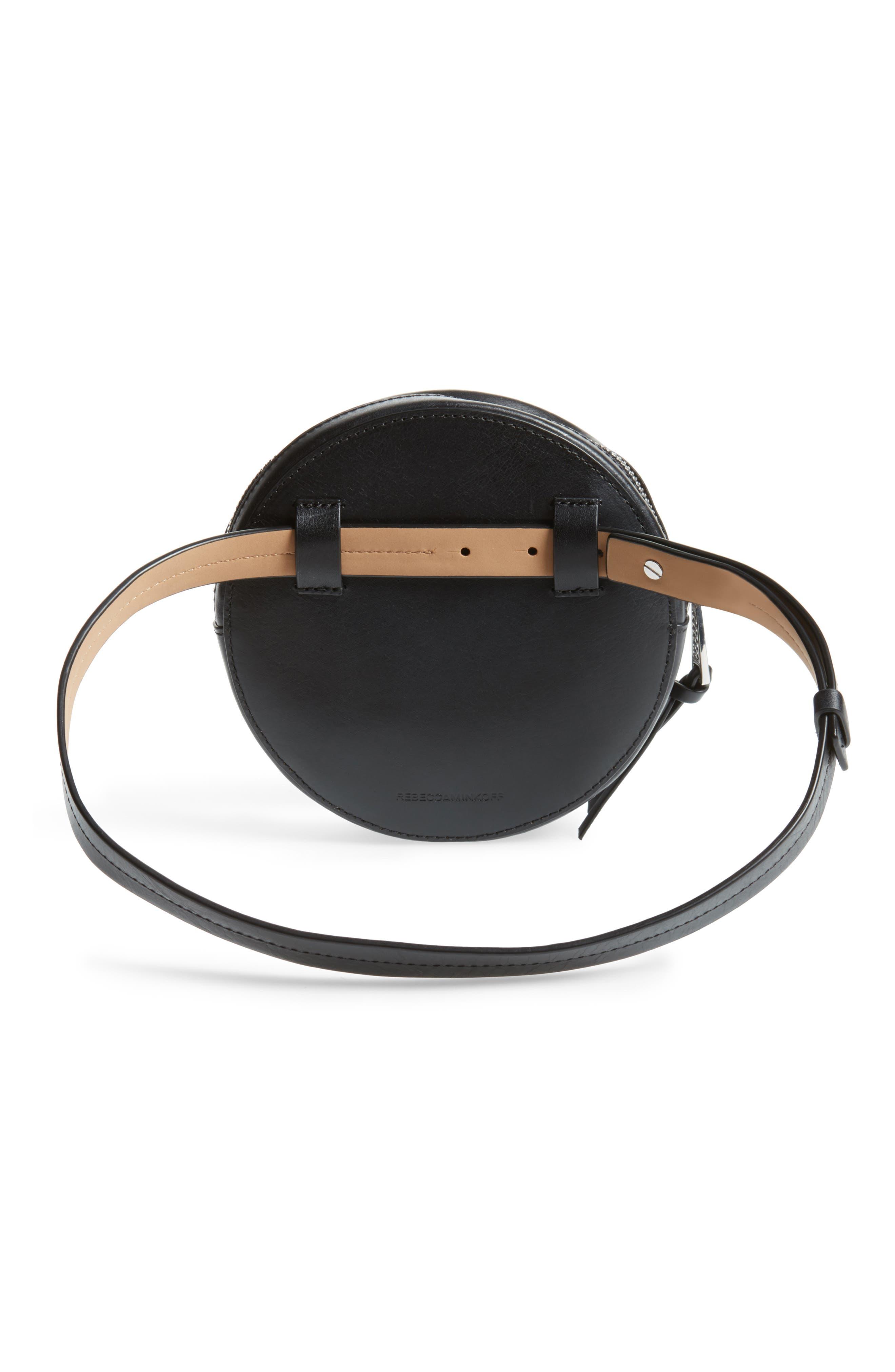 Studded Leather Belt Bag,                             Alternate thumbnail 4, color,                             Black