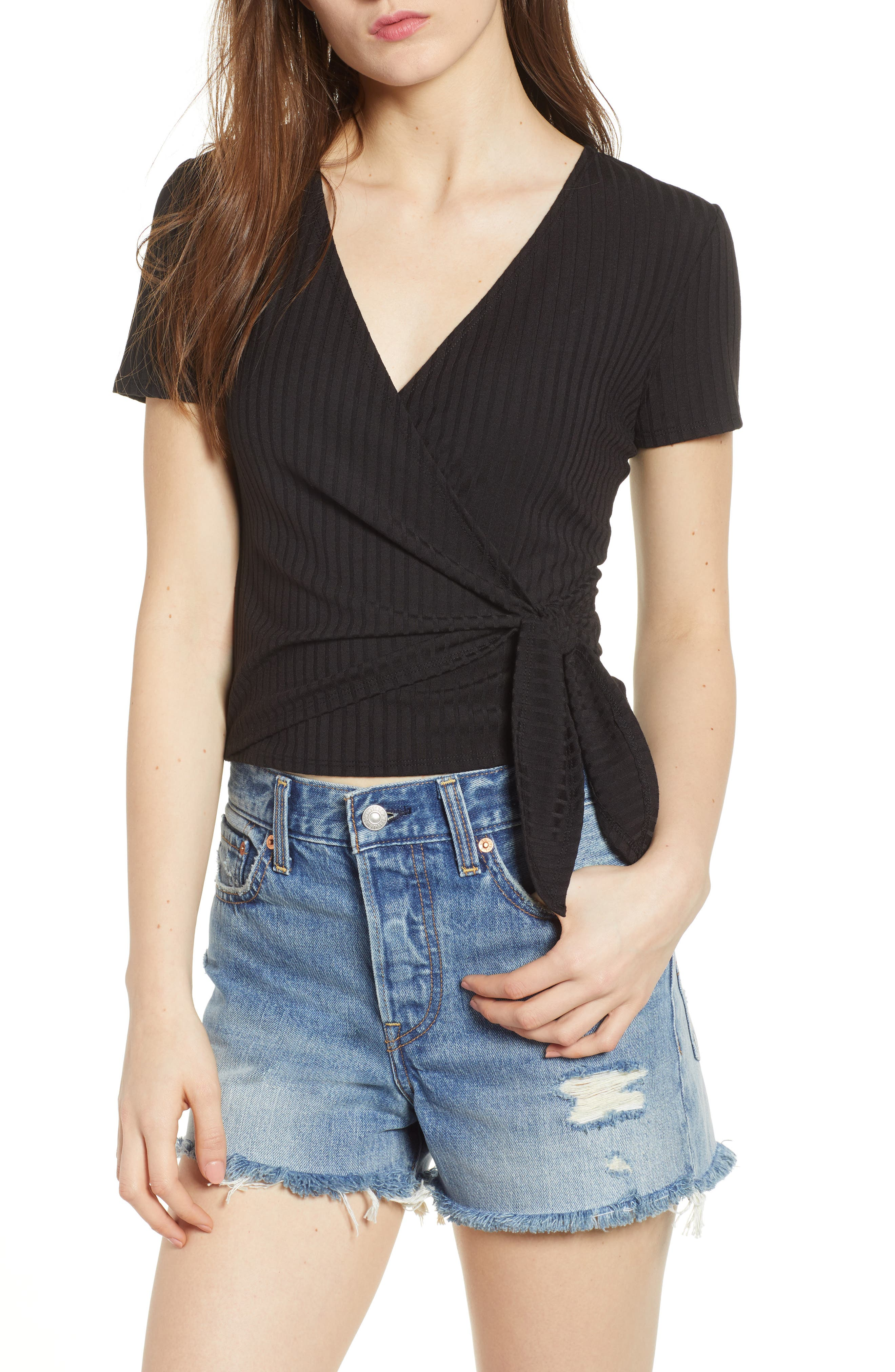 Ribbed Wrap Front Top,                         Main,                         color, Black