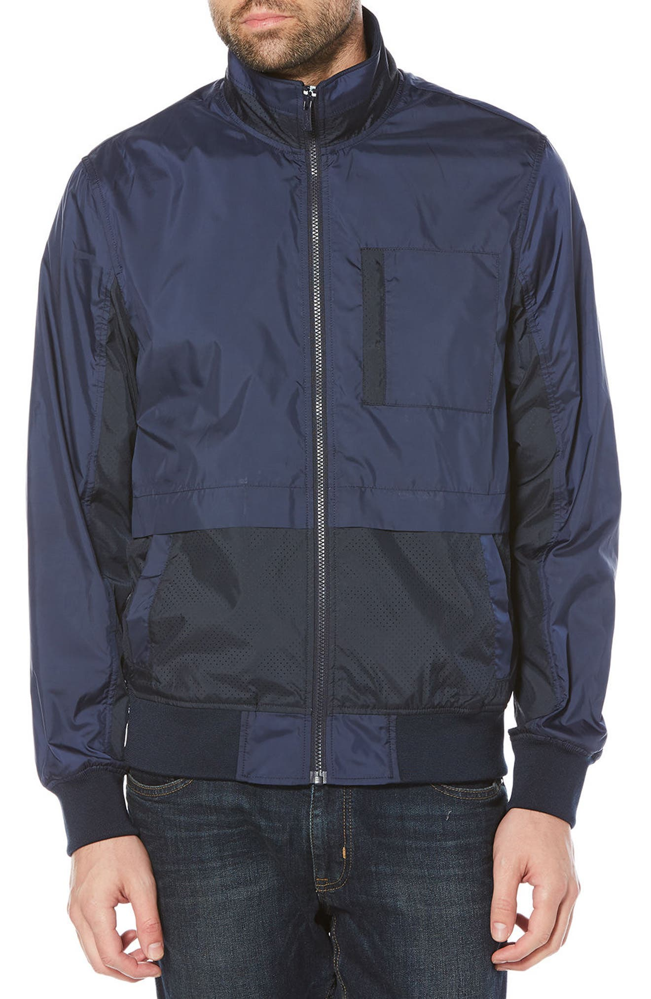 Perforated Piecing Windbreaker,                         Main,                         color, Dark Sapphire