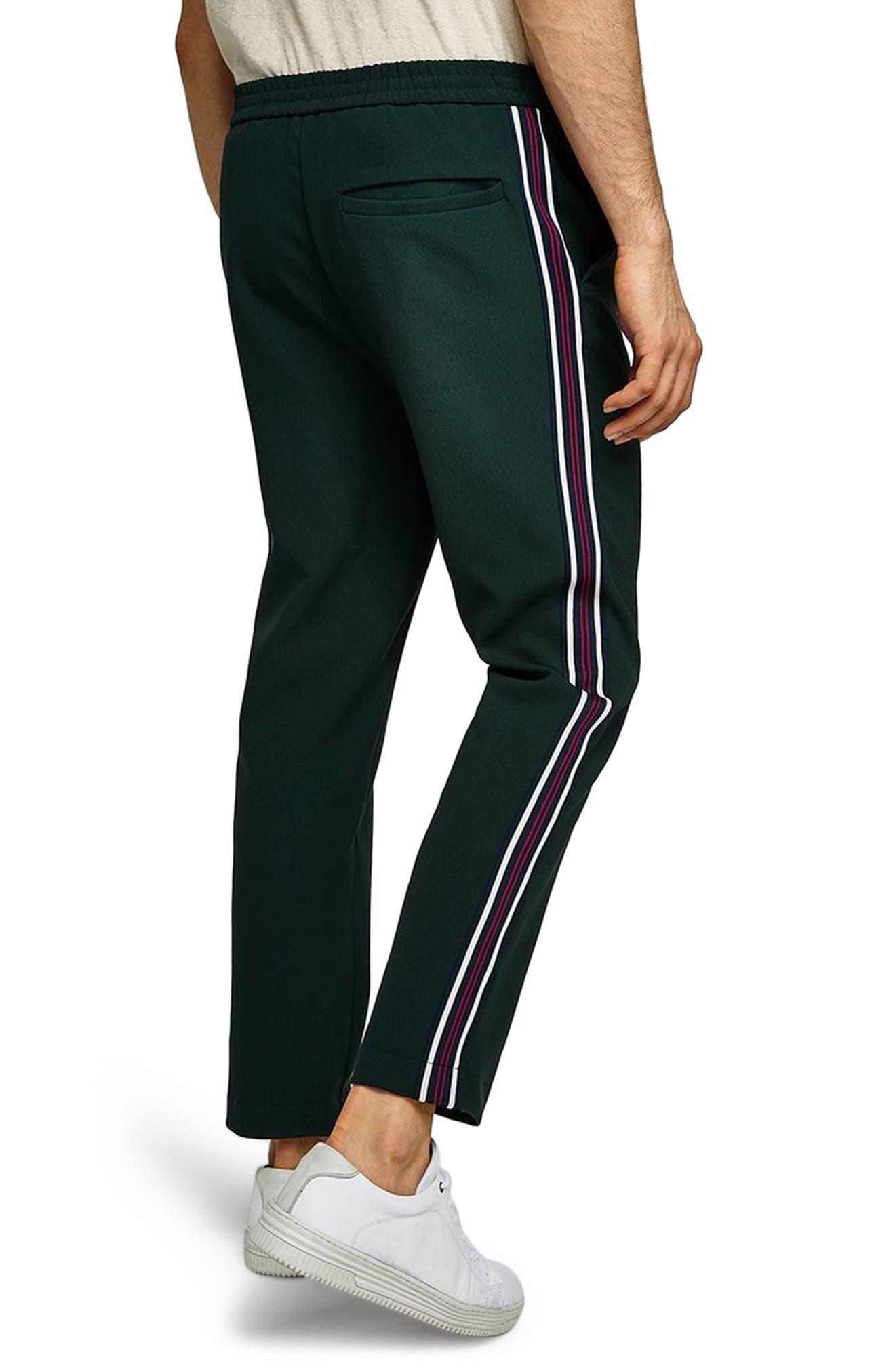 Slim Cropped Track Pants,                             Alternate thumbnail 2, color,                             Green Multi