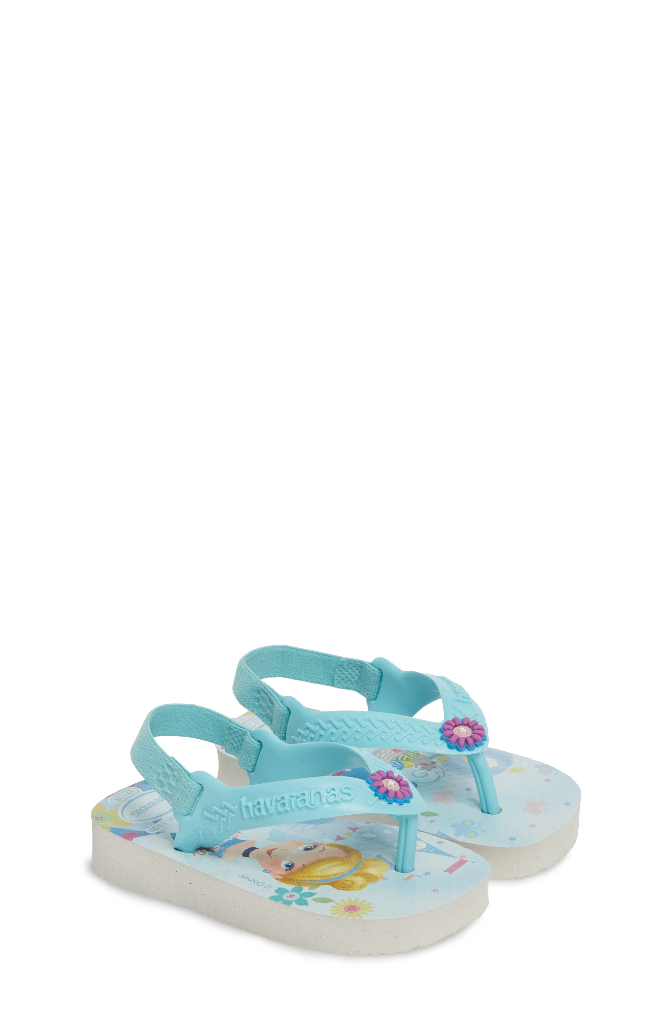 Baby Disney<sup>®</sup> Princess Flip Flop,                             Alternate thumbnail 3, color,                             White/ Ice Blue