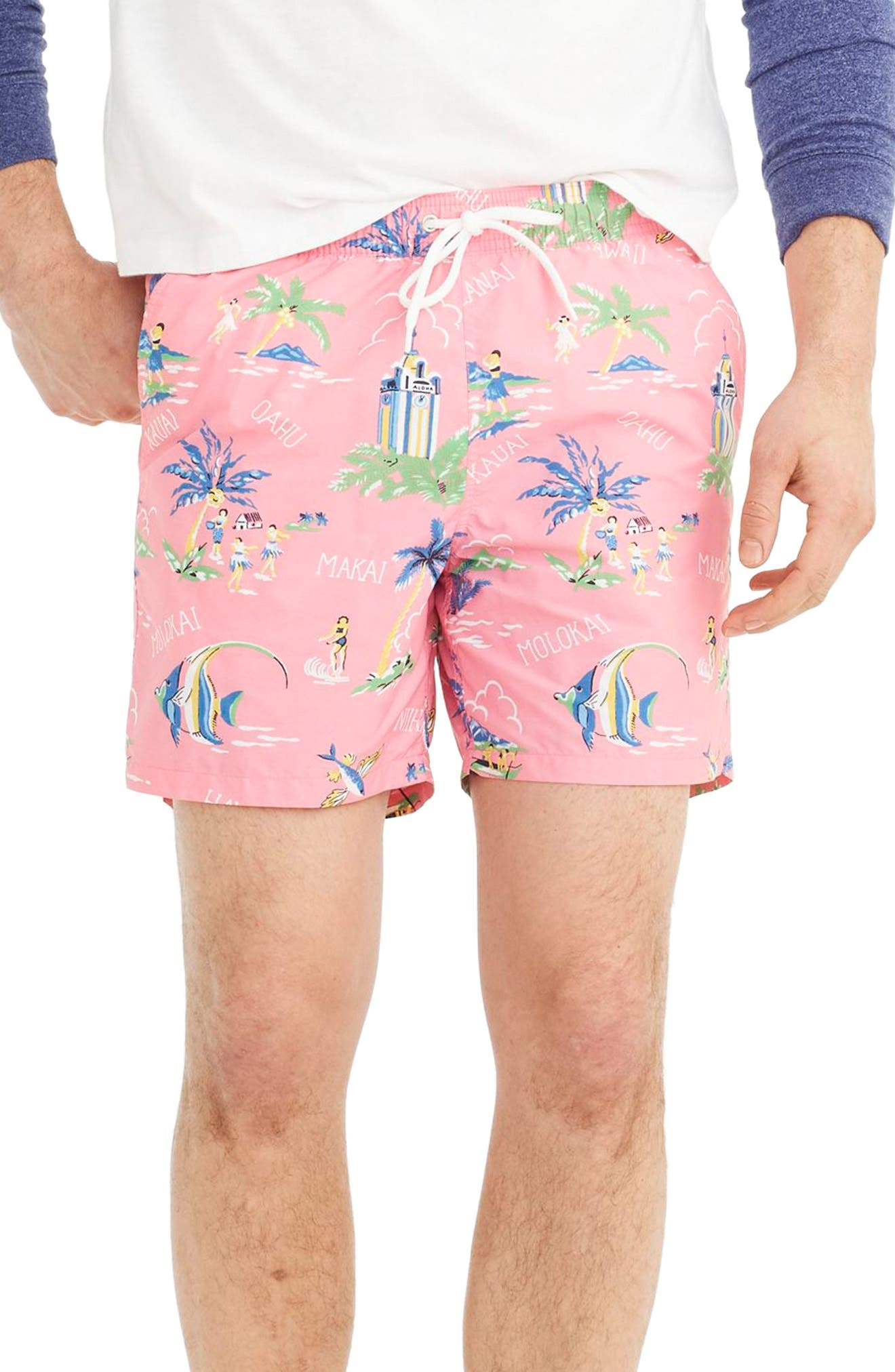 J.Crew Hawaii Print Swim Trunks,                         Main,                         color, Pink Seas