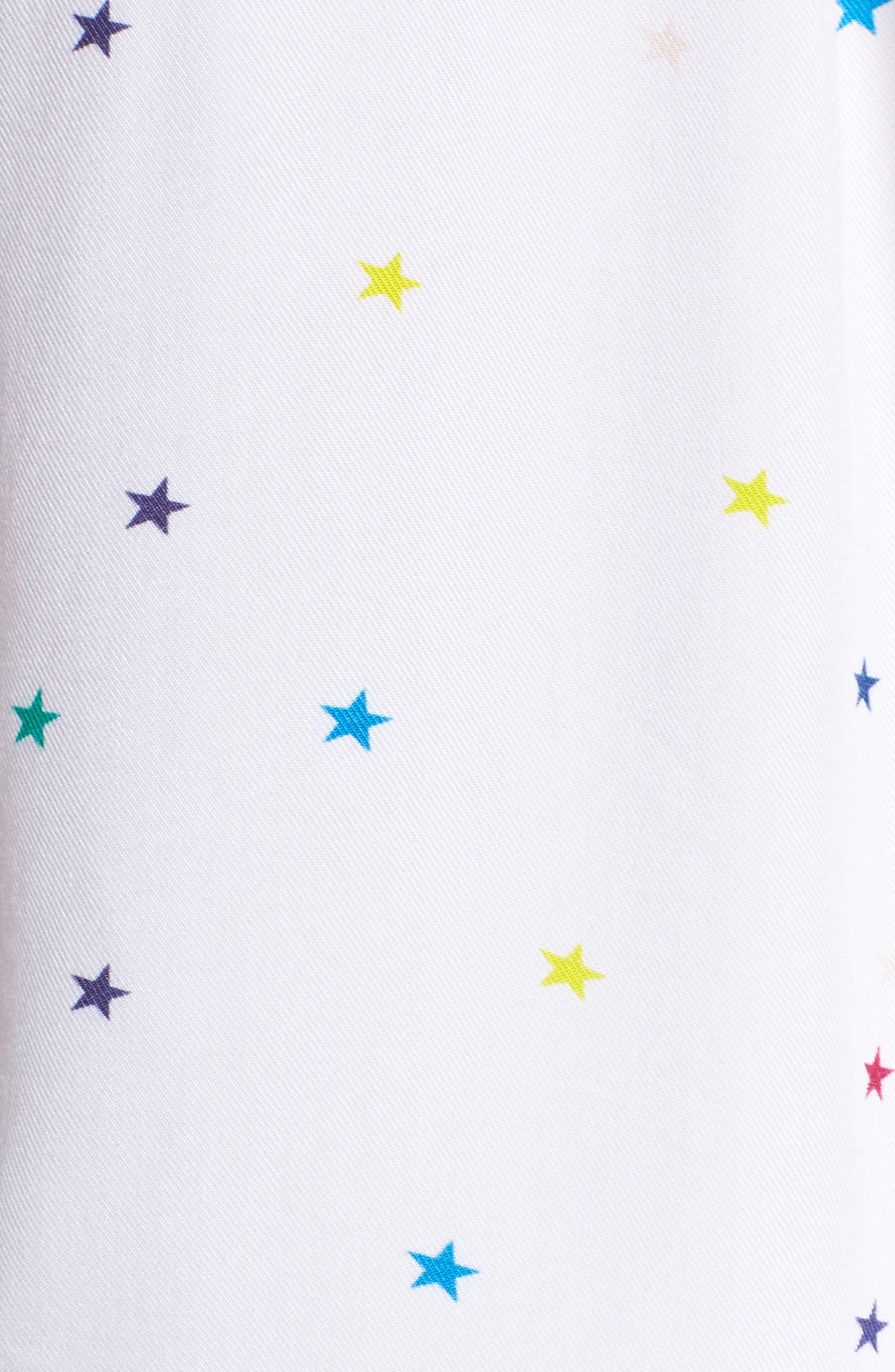 Star Print Short Pajamas,                             Alternate thumbnail 6, color,                             Rainbow Stars On White