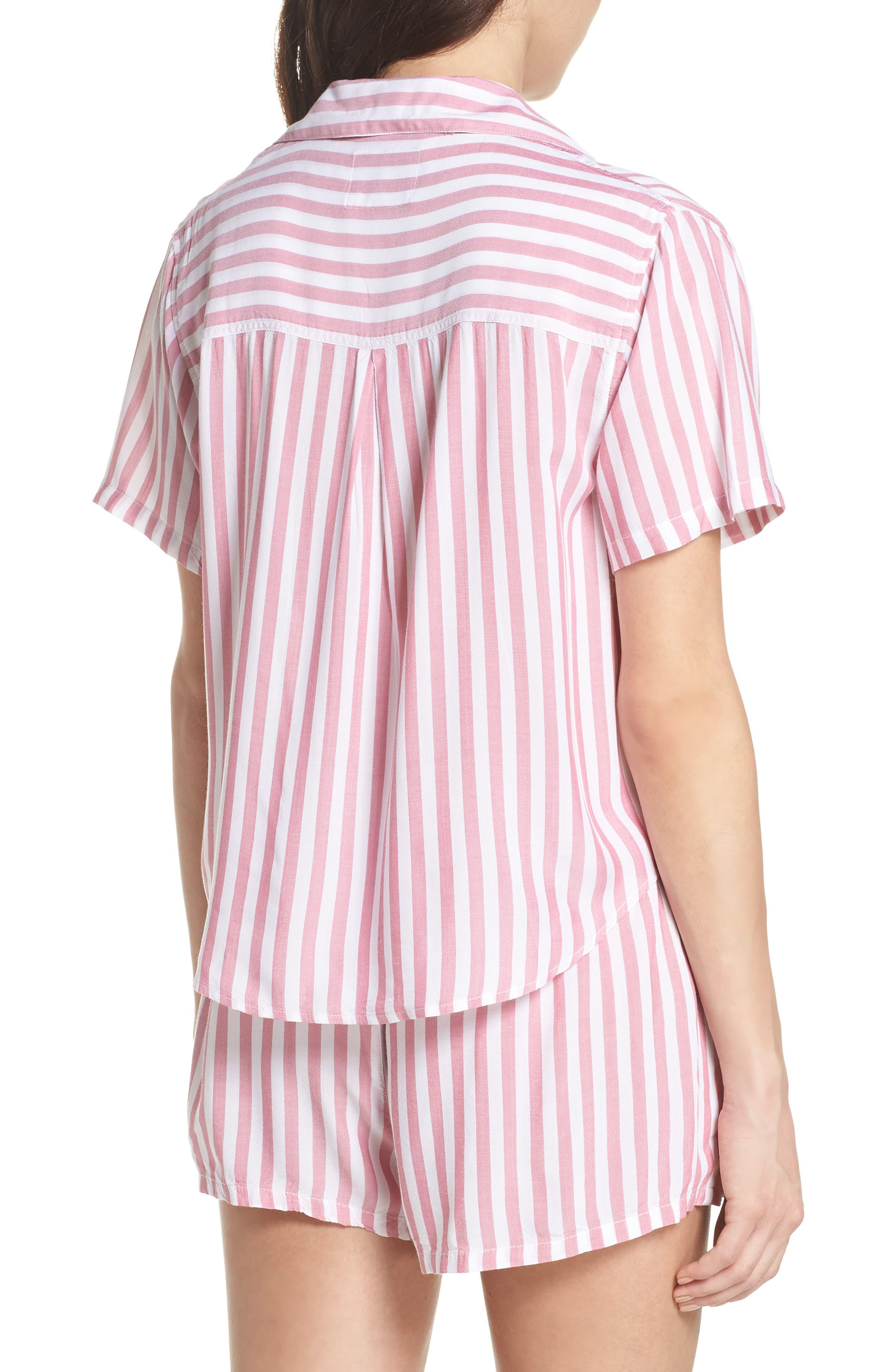 Stripe Short Pajamas,                             Alternate thumbnail 2, color,                             Garnet White