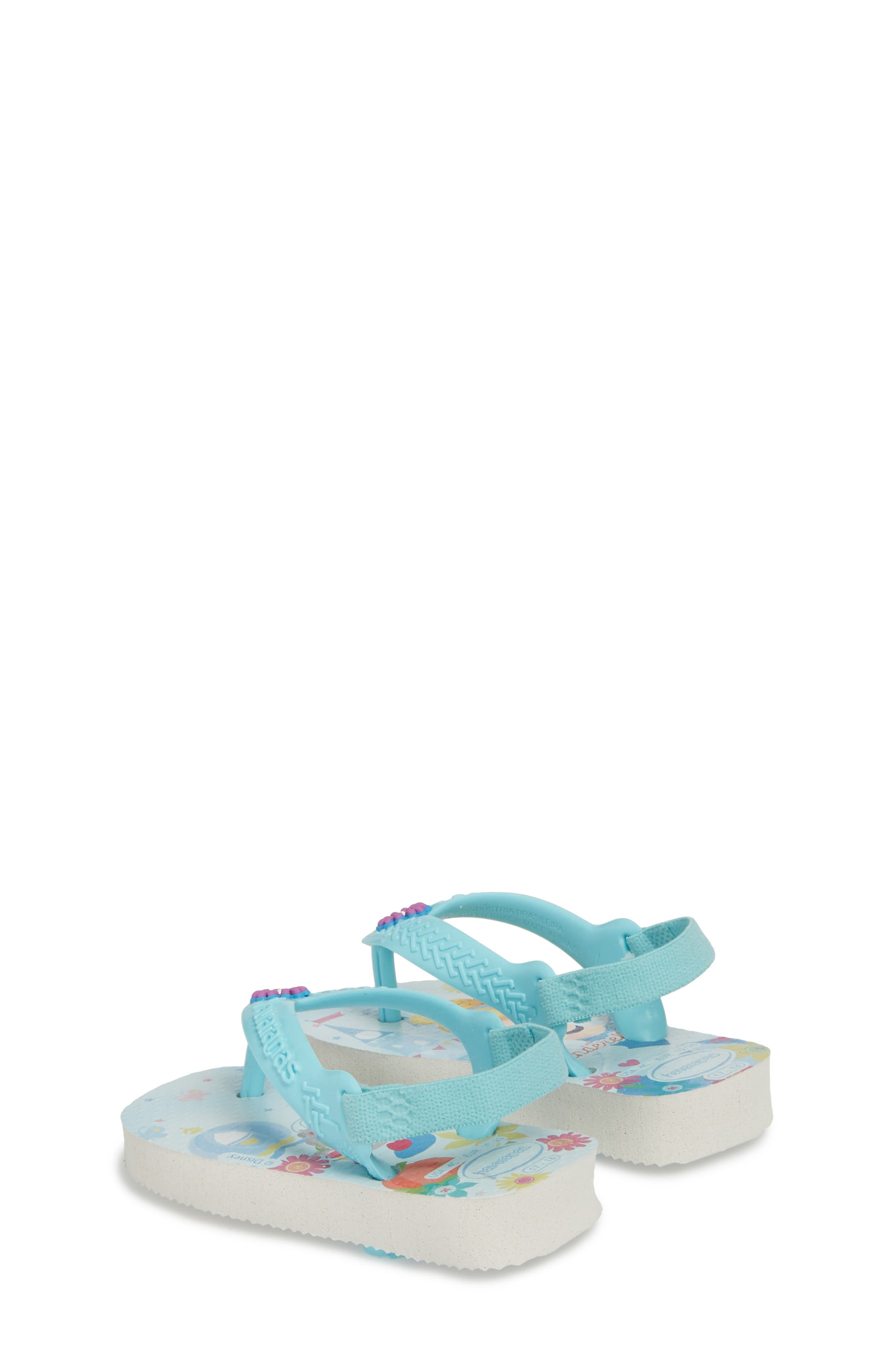 Baby Disney<sup>®</sup> Princess Flip Flop,                             Alternate thumbnail 2, color,                             White/ Ice Blue