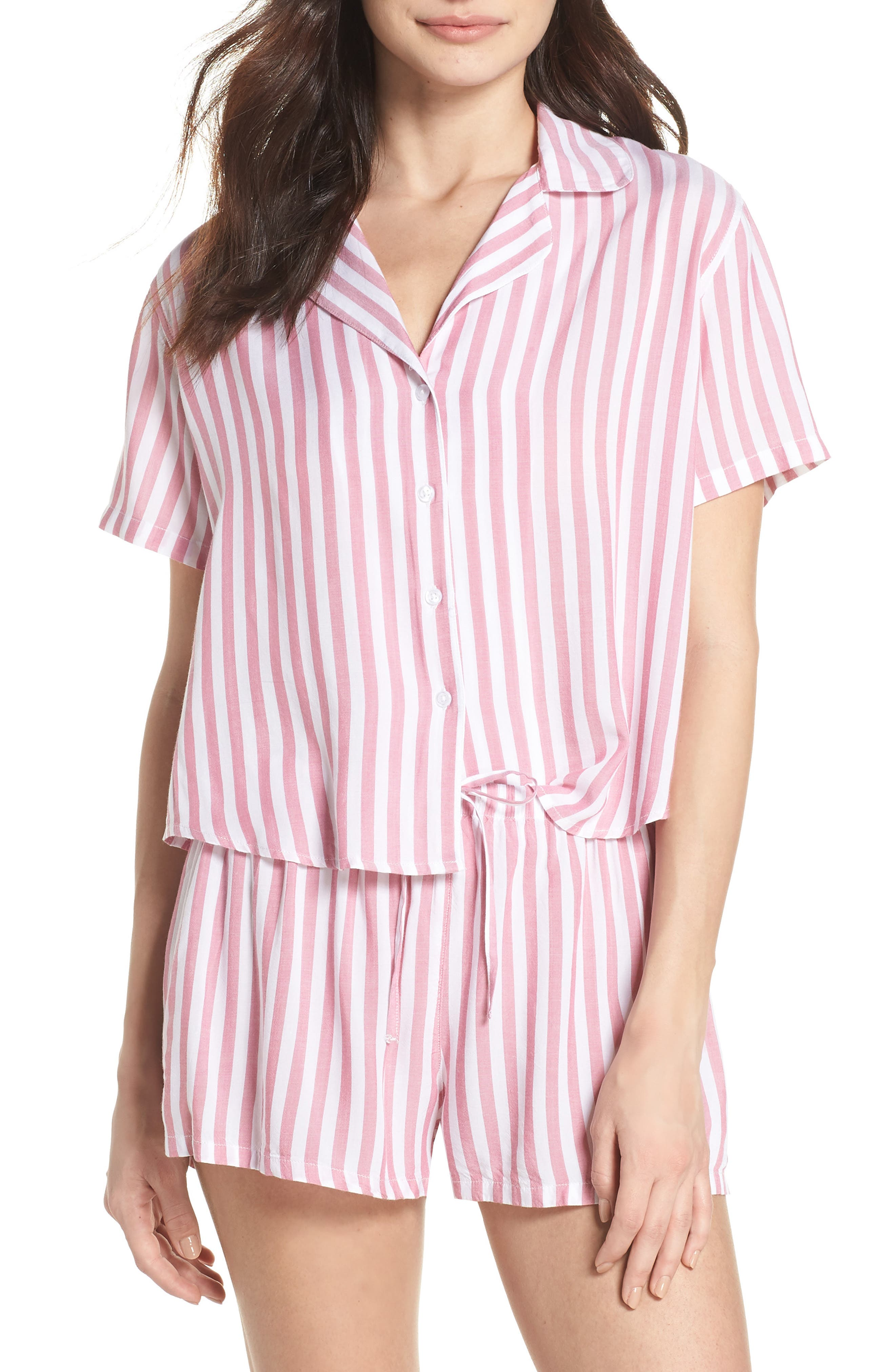 Stripe Short Pajamas,                             Main thumbnail 1, color,                             Garnet White