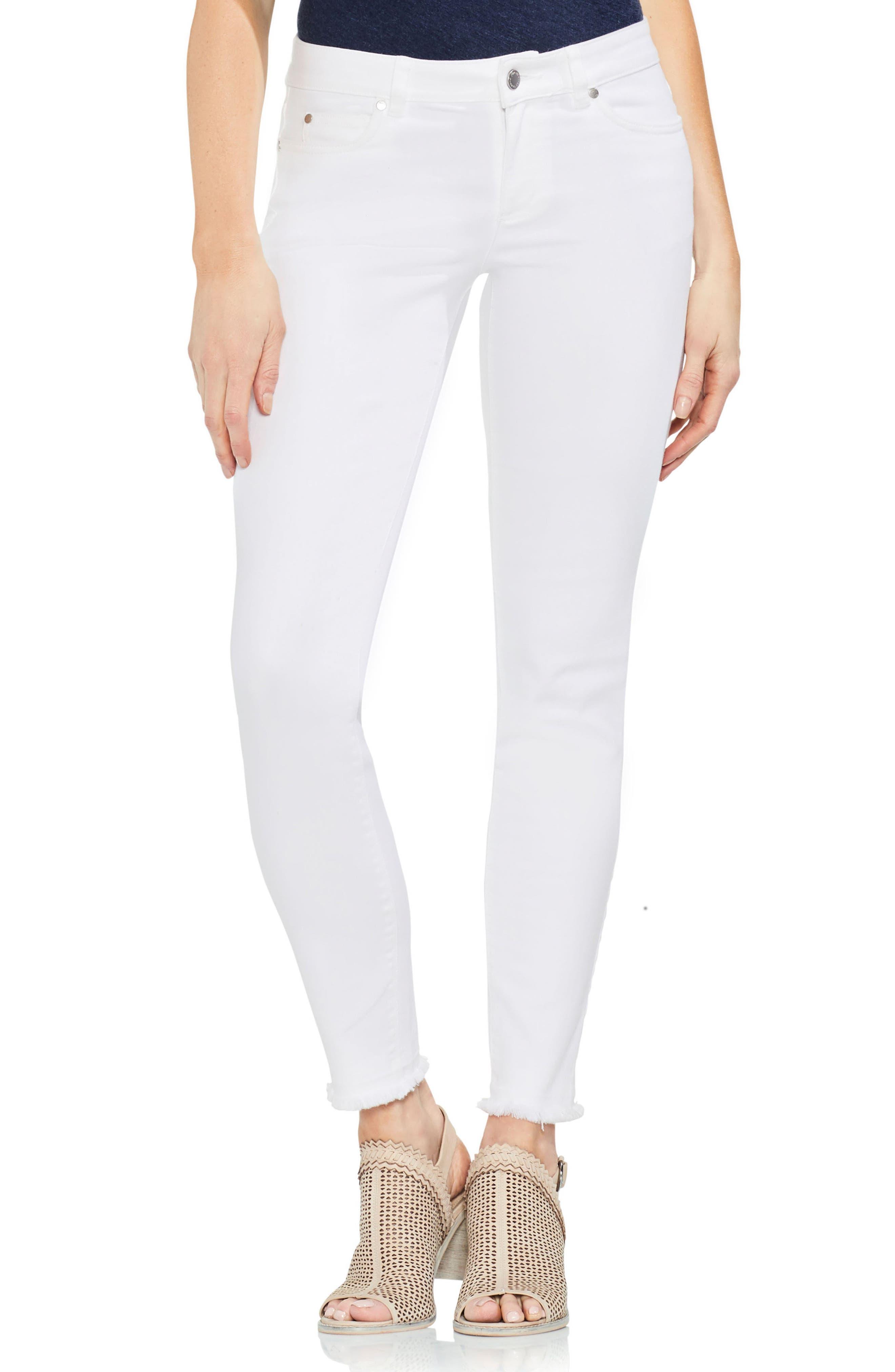 Fray Hem Skinny Jeans,                             Main thumbnail 1, color,                             Ultra White