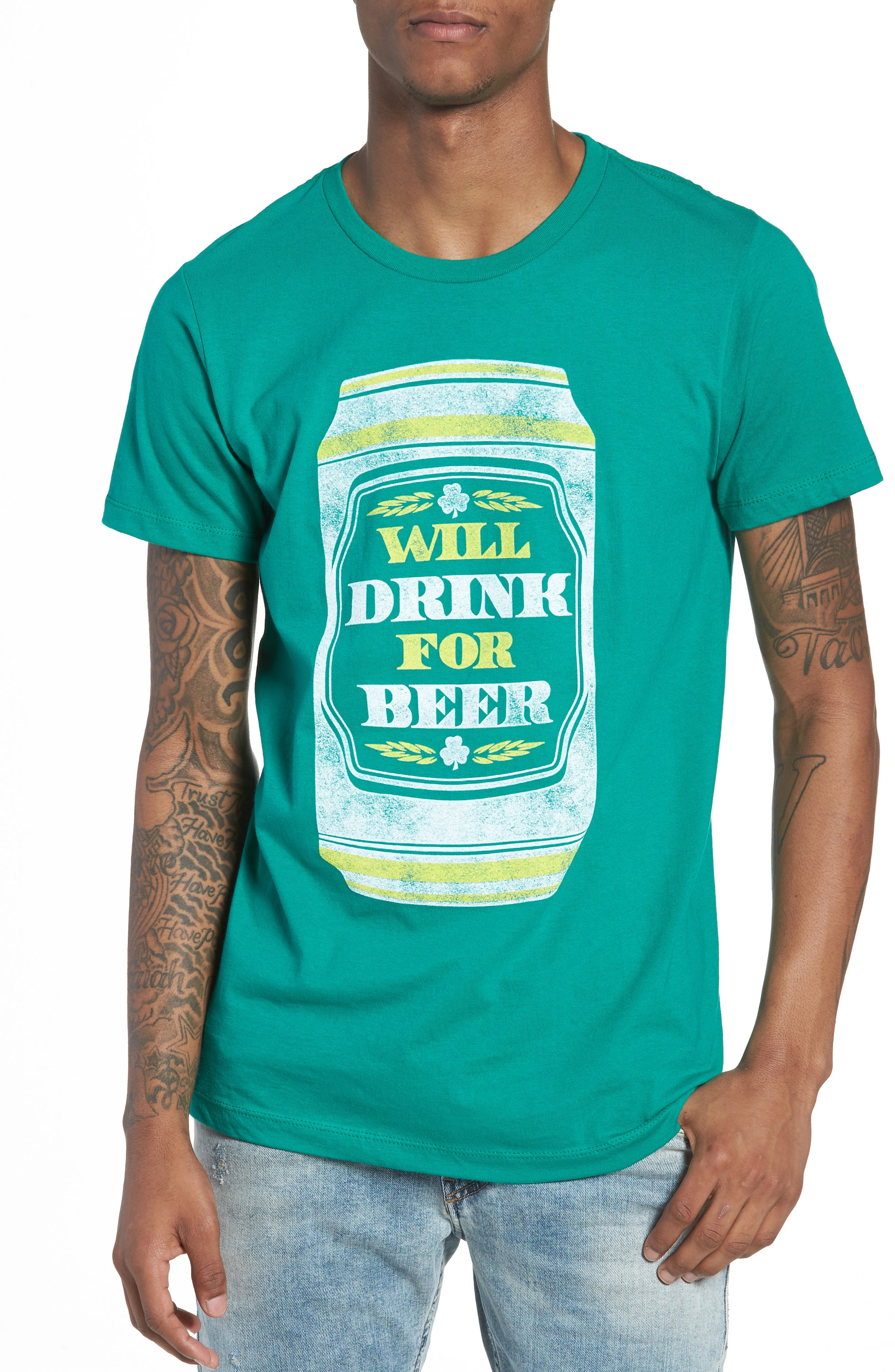 Will Drink for Beer Graphic T-Shirt,                             Main thumbnail 1, color,                             Green Drink Beer