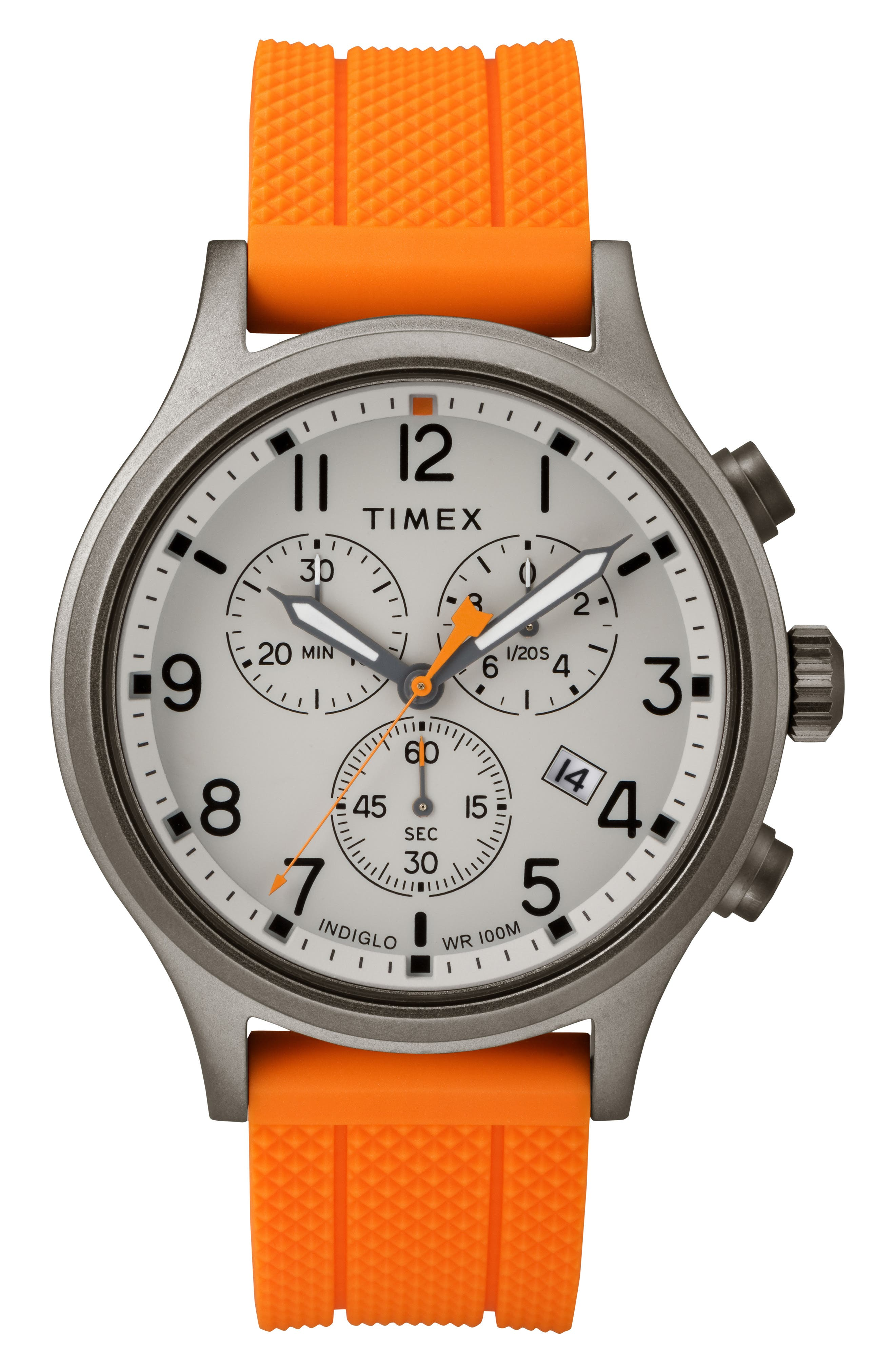 Allied Chronograph Silicone Strap Watch, 42mm,                             Main thumbnail 1, color,                             Orange/ Grey