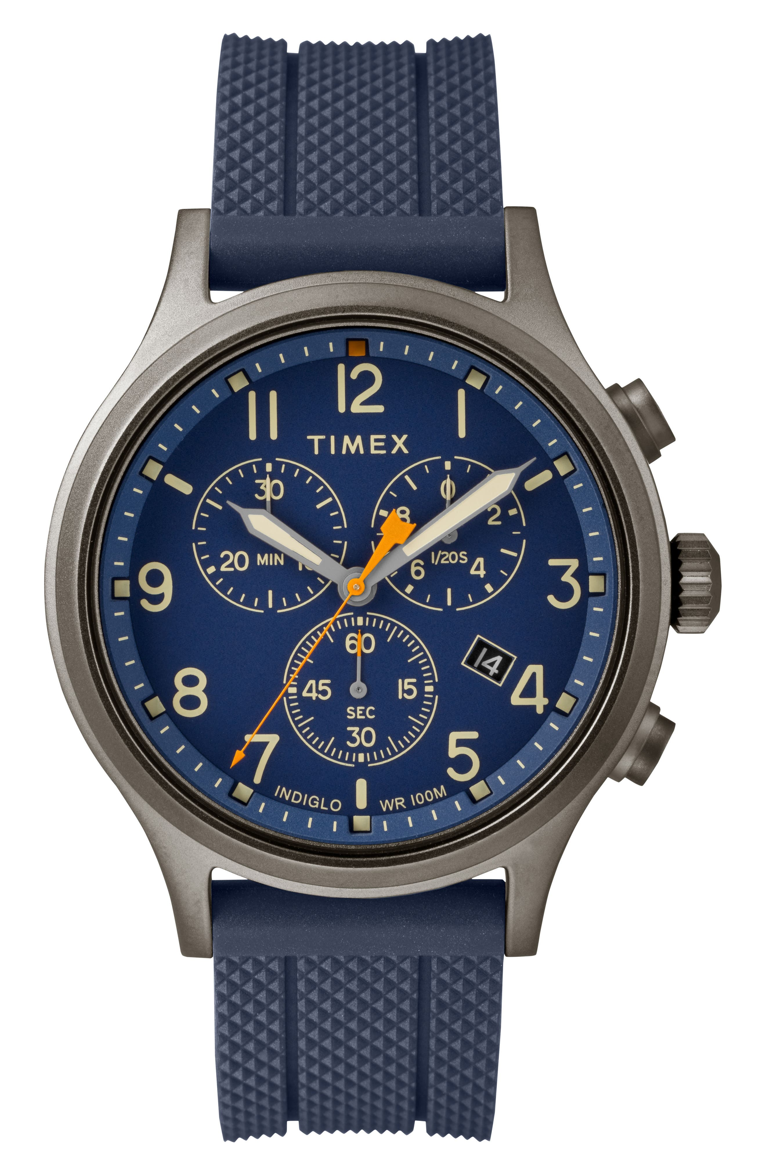 Allied Chronograph Silicone Strap Watch, 42mm,                             Main thumbnail 1, color,                             Blue/ Grey