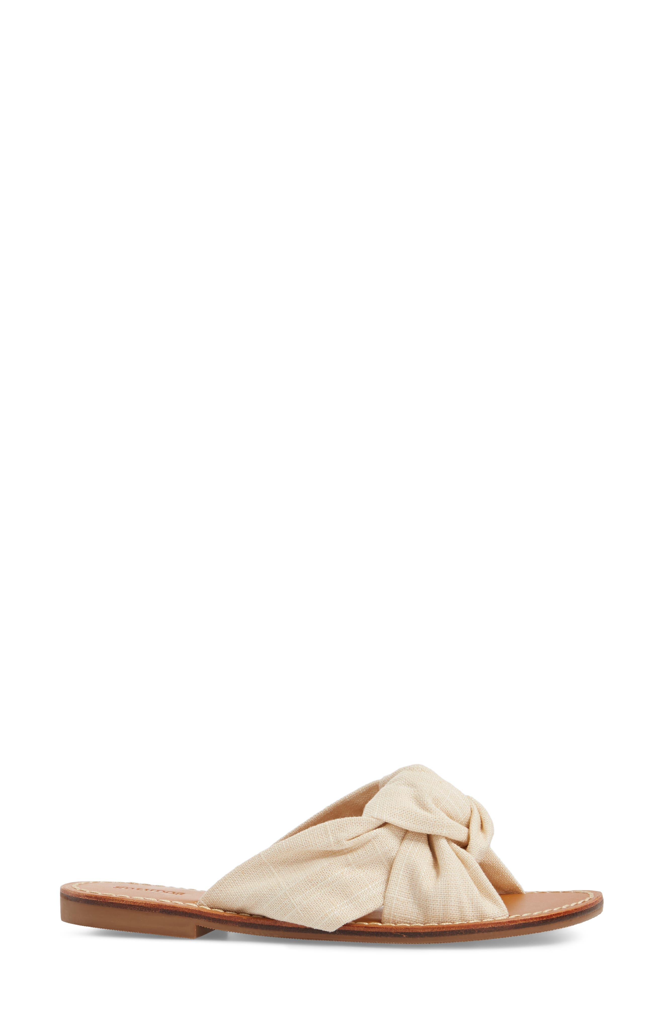 Knotted Slide Sandal,                             Alternate thumbnail 3, color,                             Blush Fabric