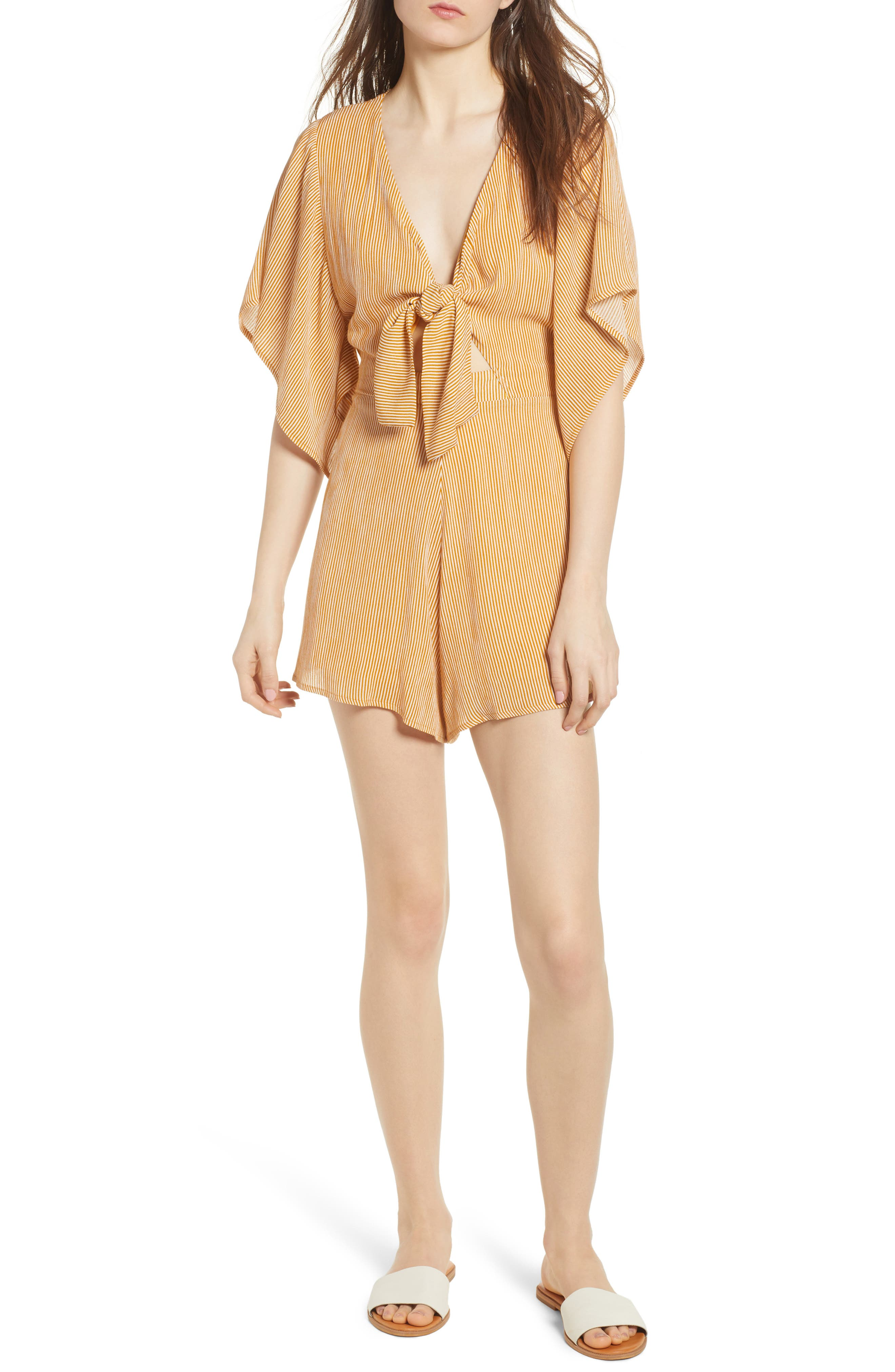 Tie Front Romper,                             Main thumbnail 1, color,                             Mustard