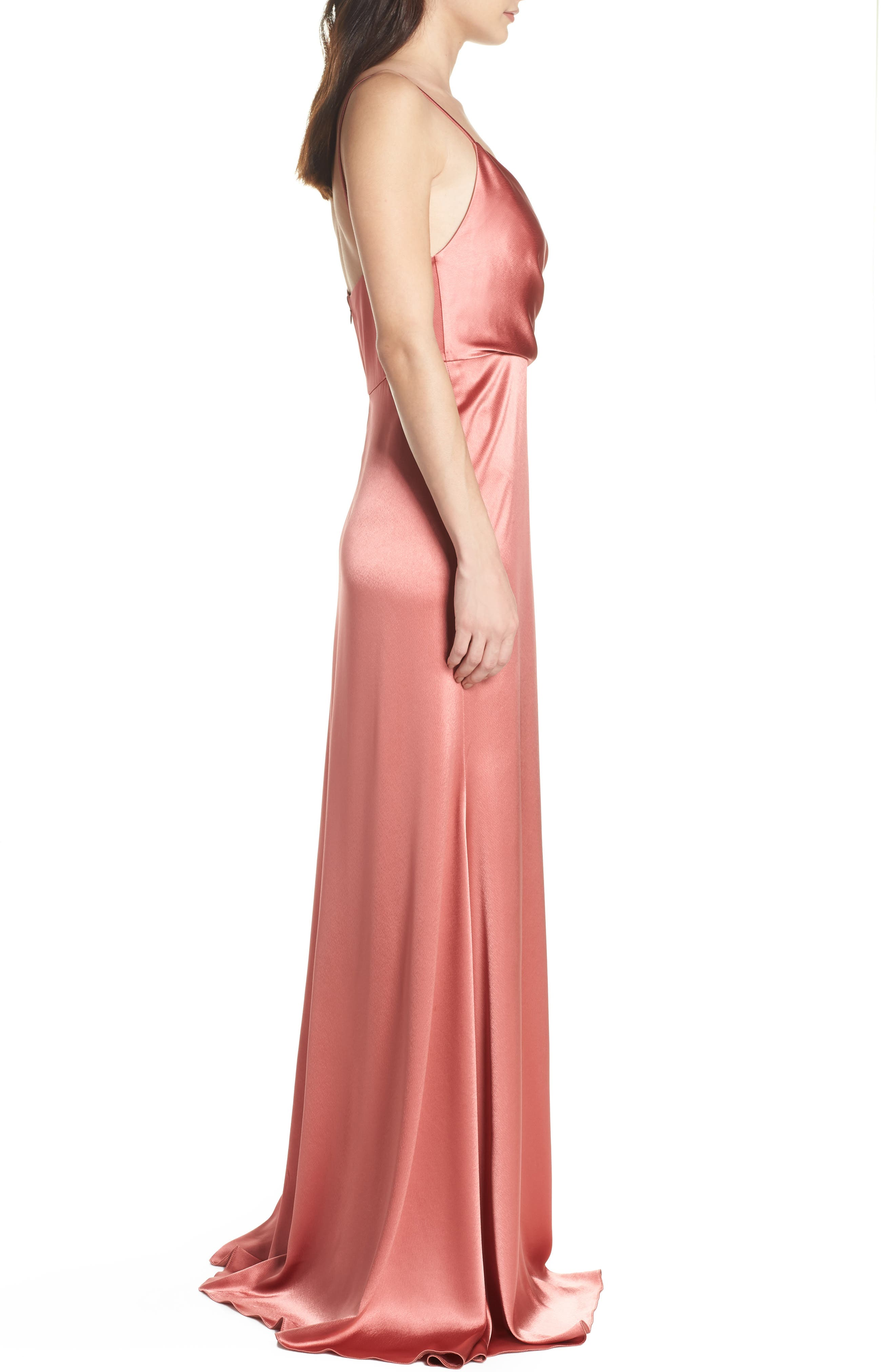 Faux Wrap Satin Gown,                             Alternate thumbnail 3, color,                             Rosewood