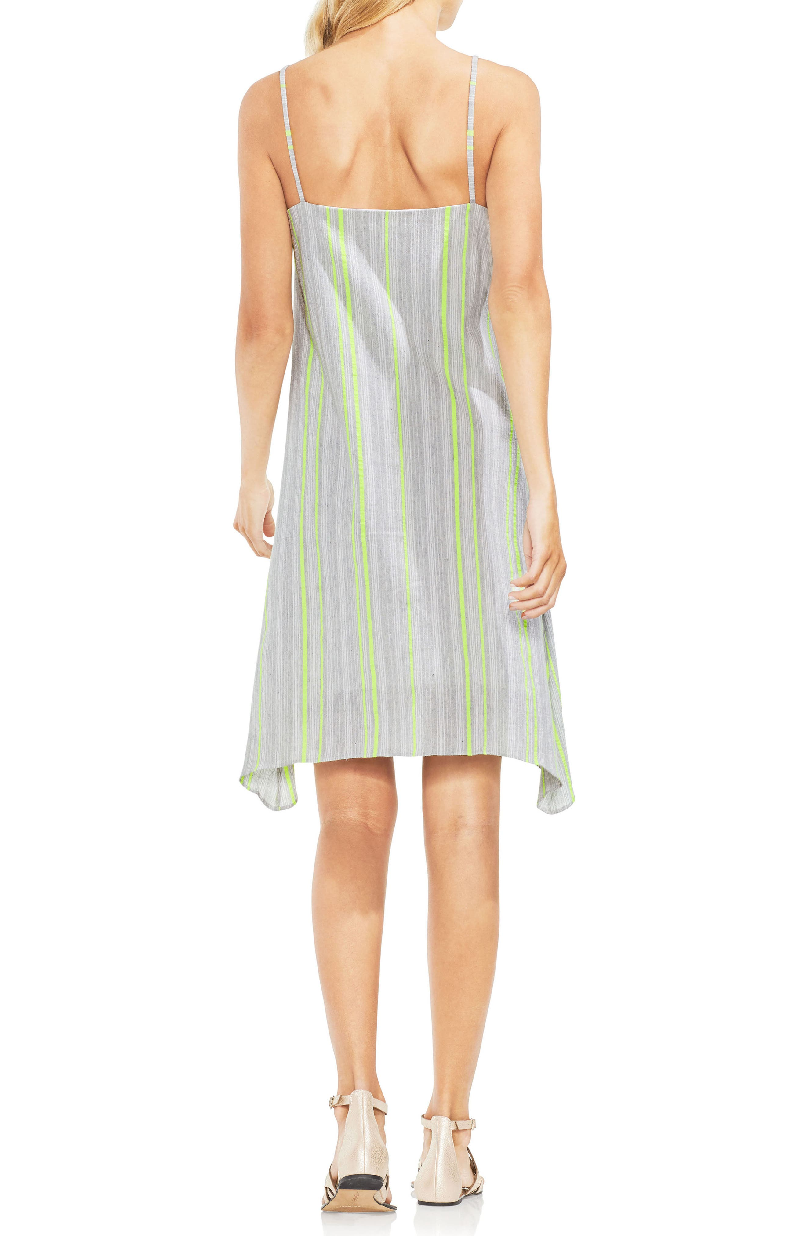 Sharkbite Stripe Cotton Blend Gauze Dress,                             Alternate thumbnail 2, color,                             Island Lime