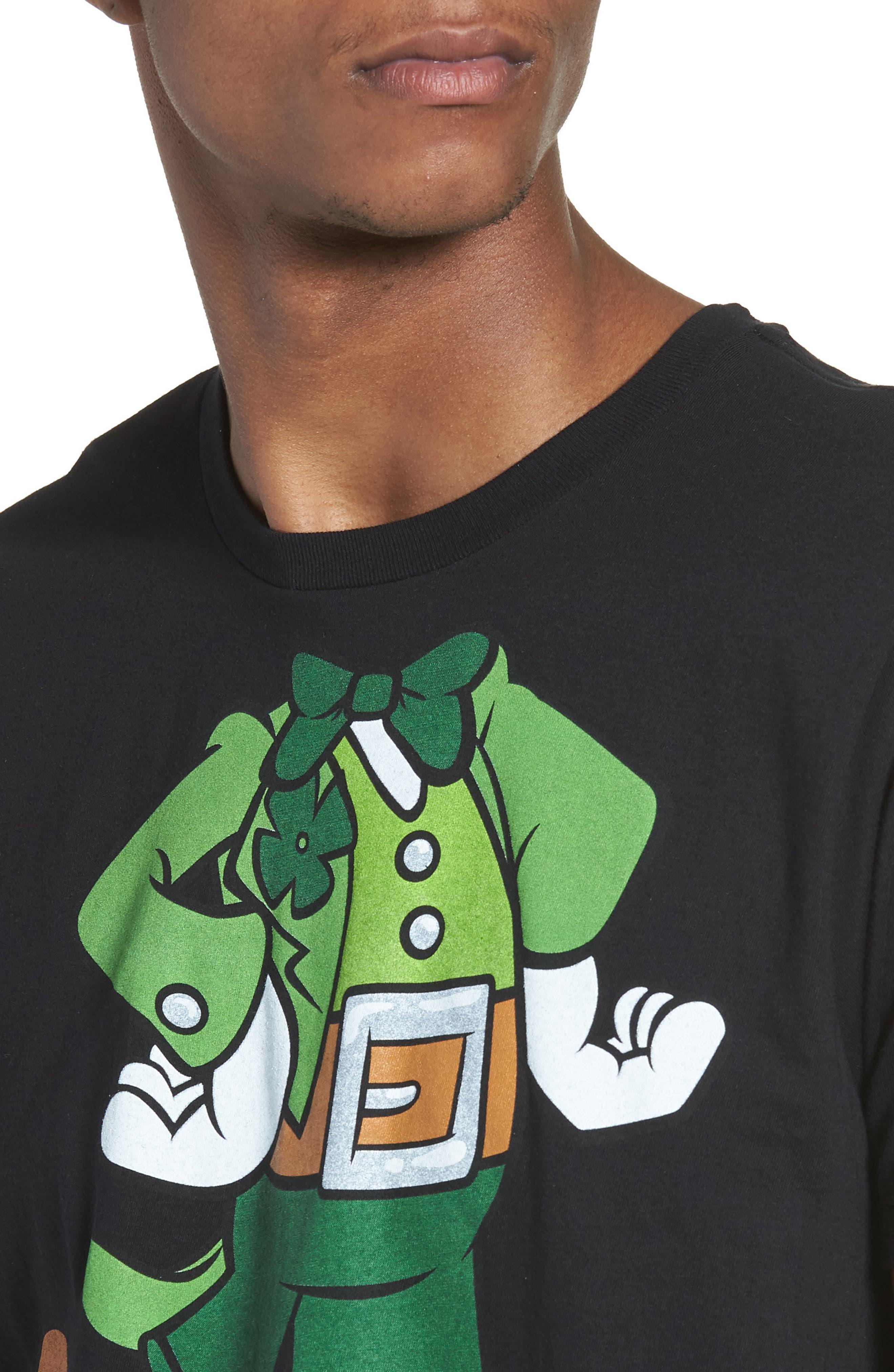 I'm Lucky Graphic T-Shirt,                             Alternate thumbnail 4, color,                             Black Tee Leprechaun