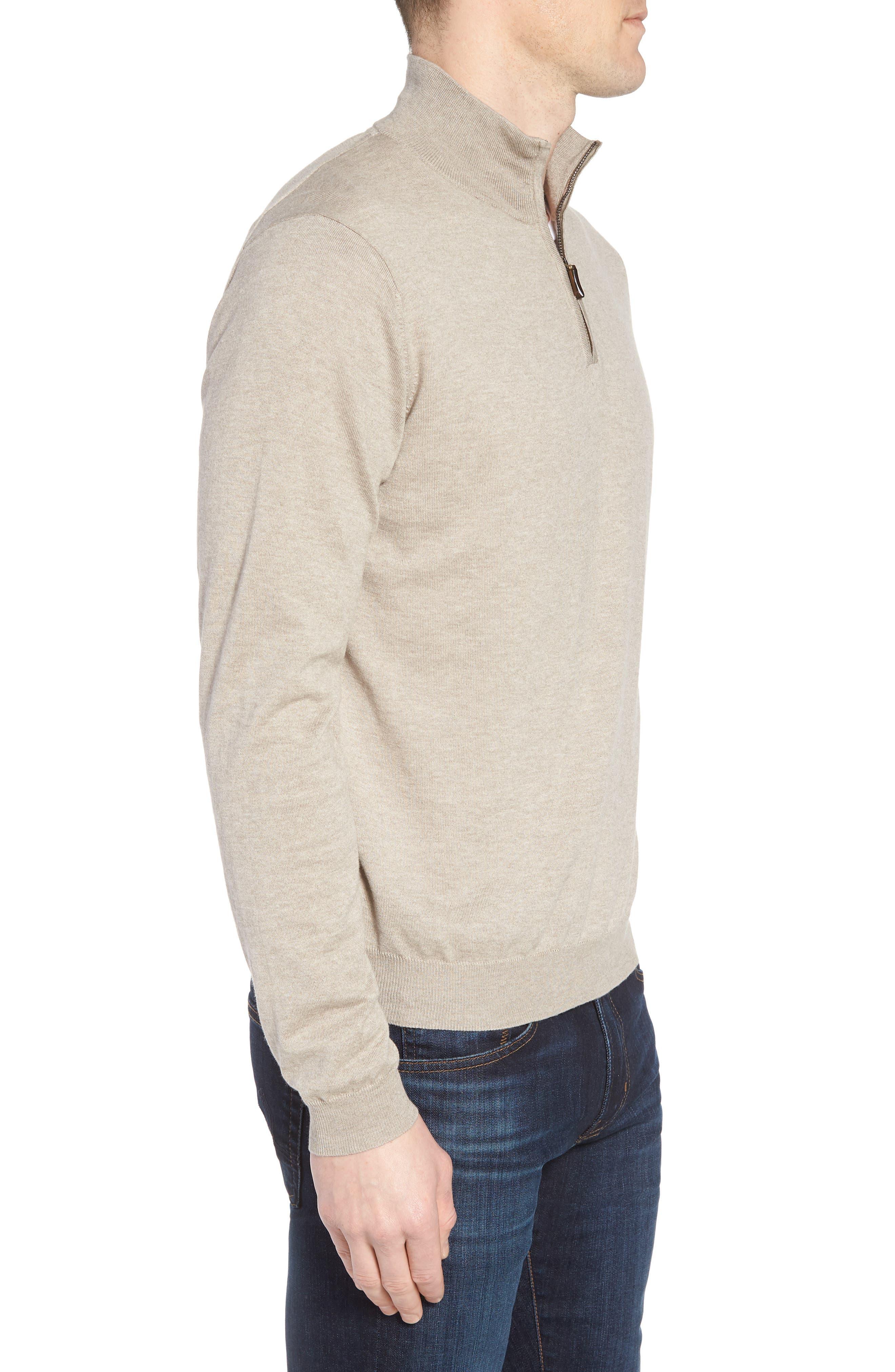 Cotton & Silk Quarter Zip Pullover,                             Alternate thumbnail 3, color,                             Dune