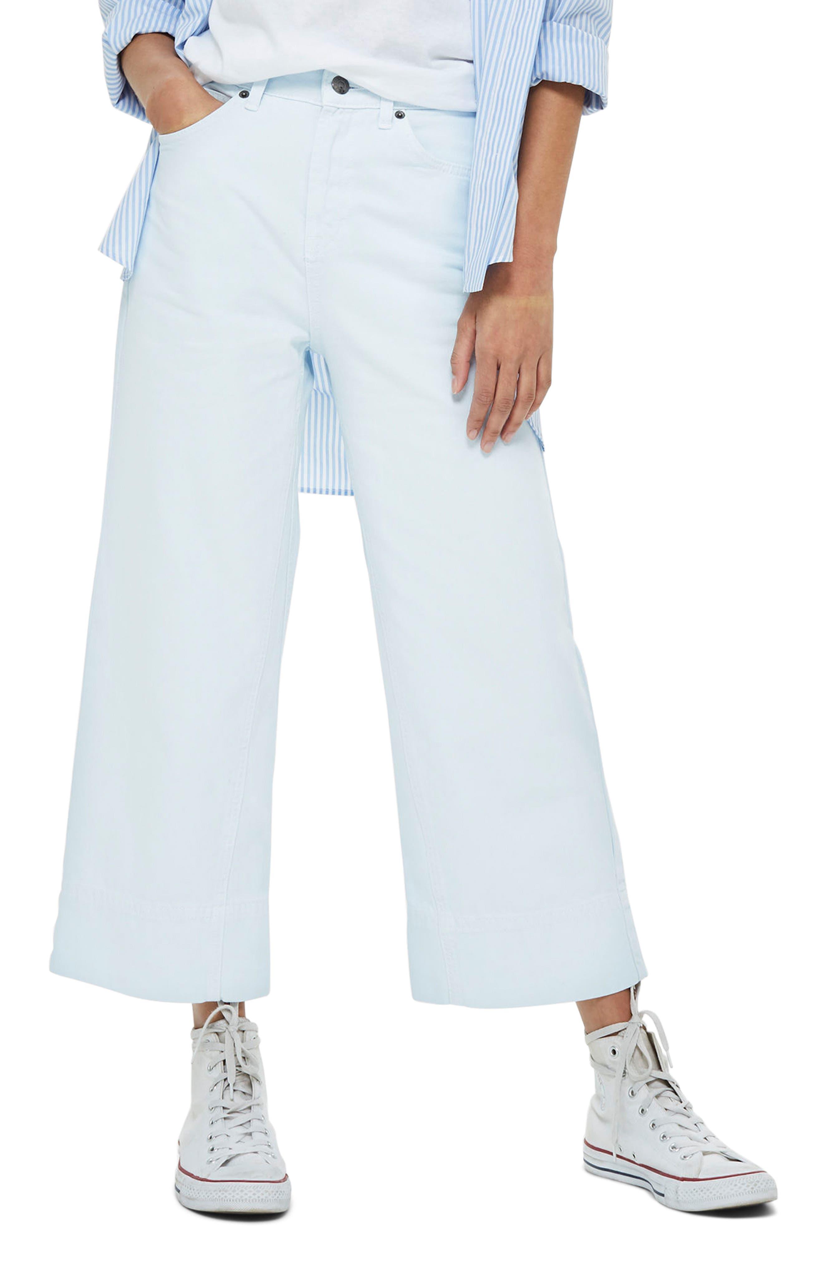 Pale Blue Crop Wide Leg Jeans,                         Main,                         color, Light Blue