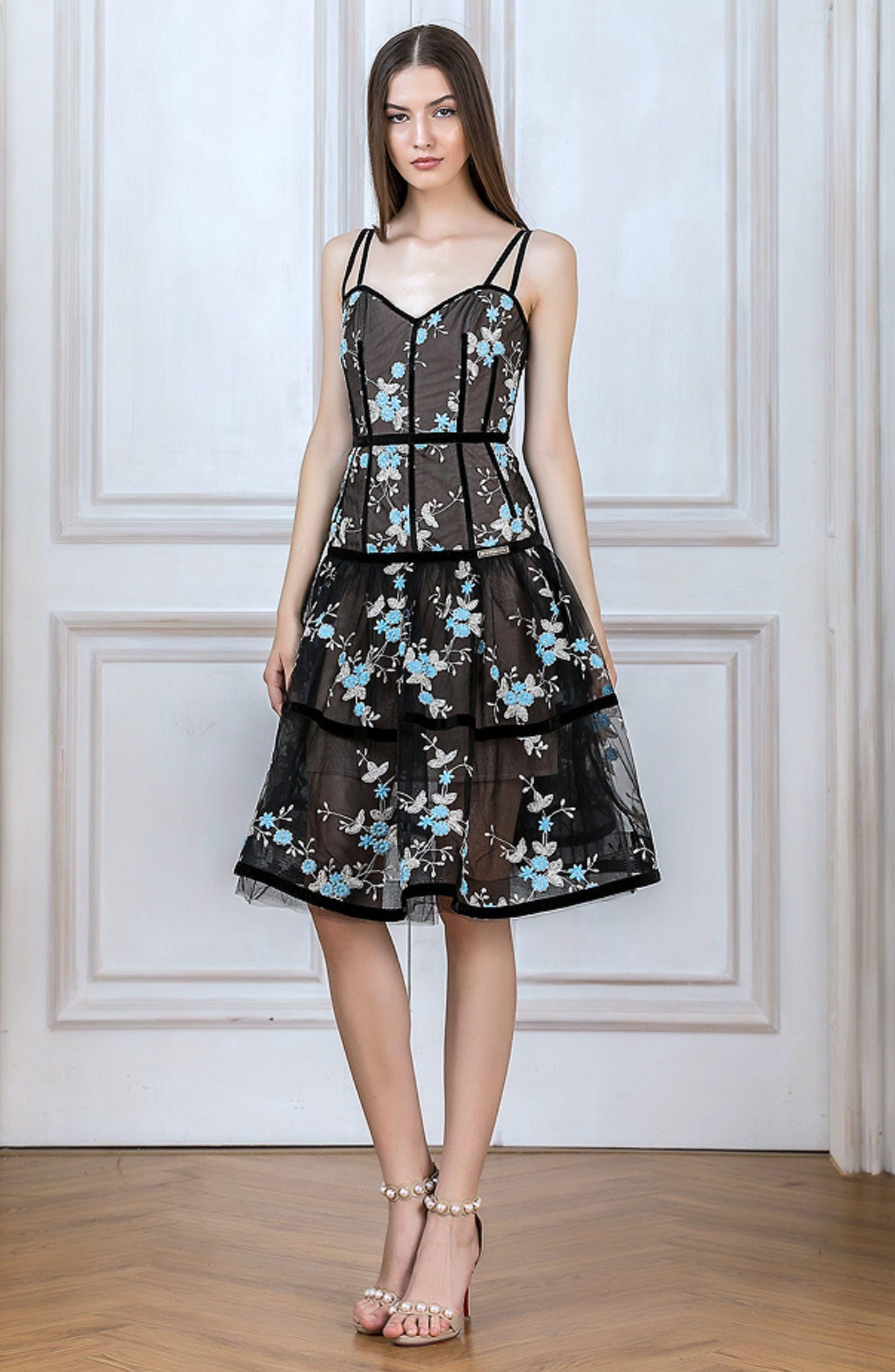 Marietta Fit & Flare Dress,                             Alternate thumbnail 4, color,