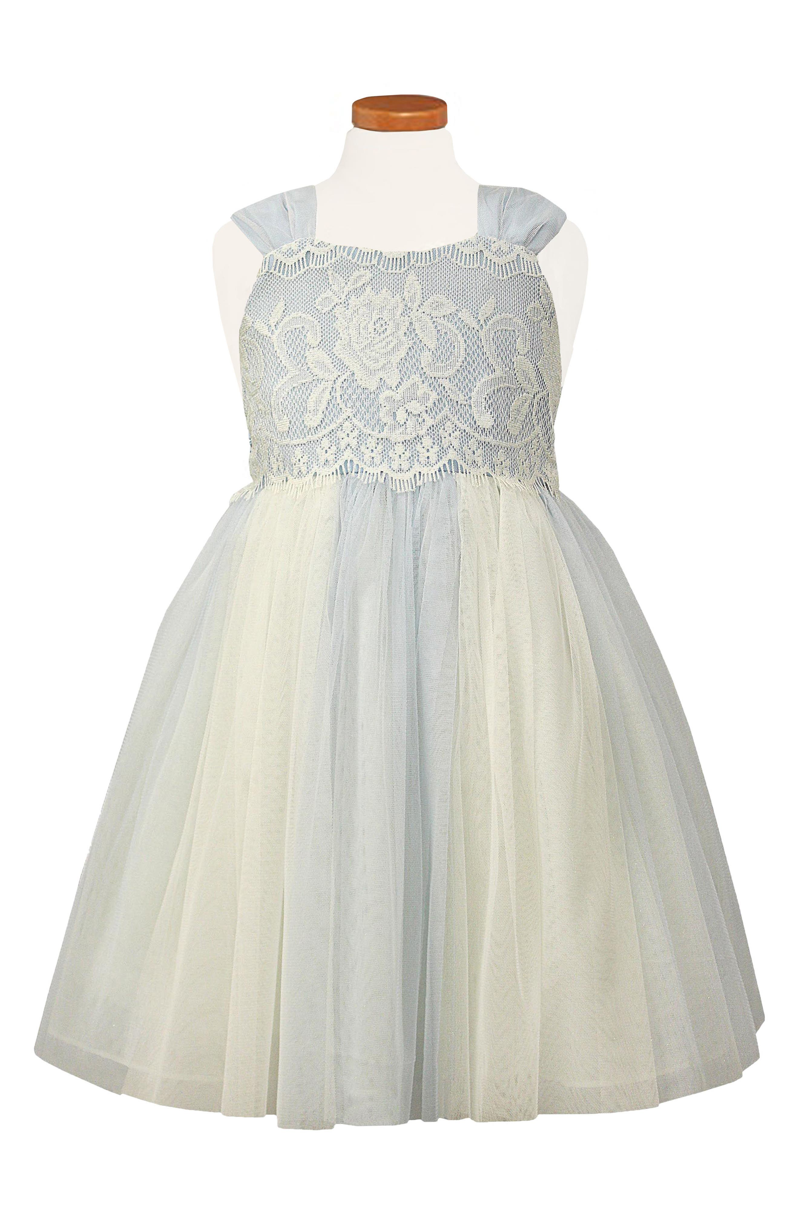 Lace & Tulle Fit & Flare Dress,                             Main thumbnail 1, color,                             Blue