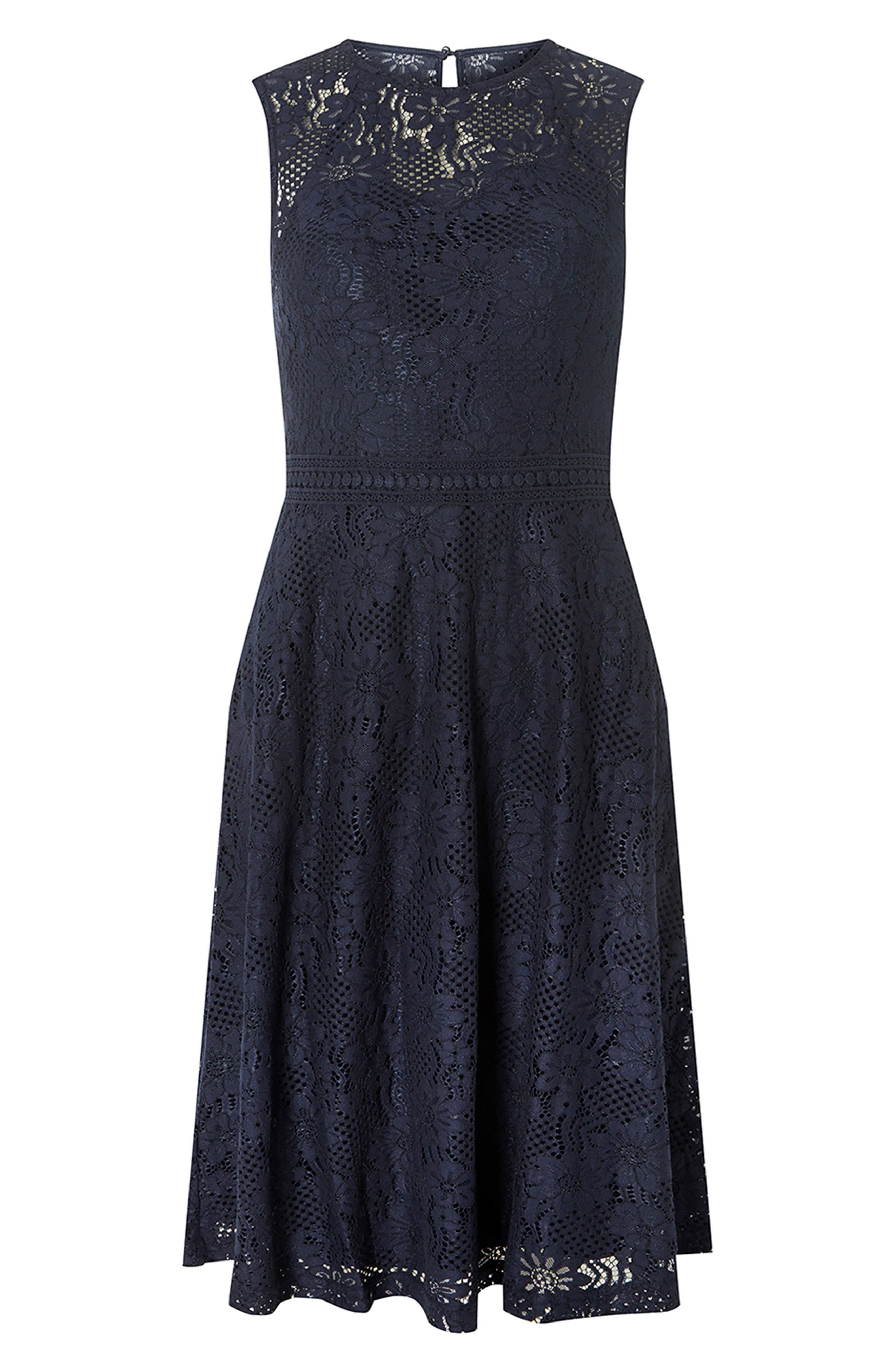 Adele Lace Fit & Flare Dress,                             Alternate thumbnail 4, color,                             Navy