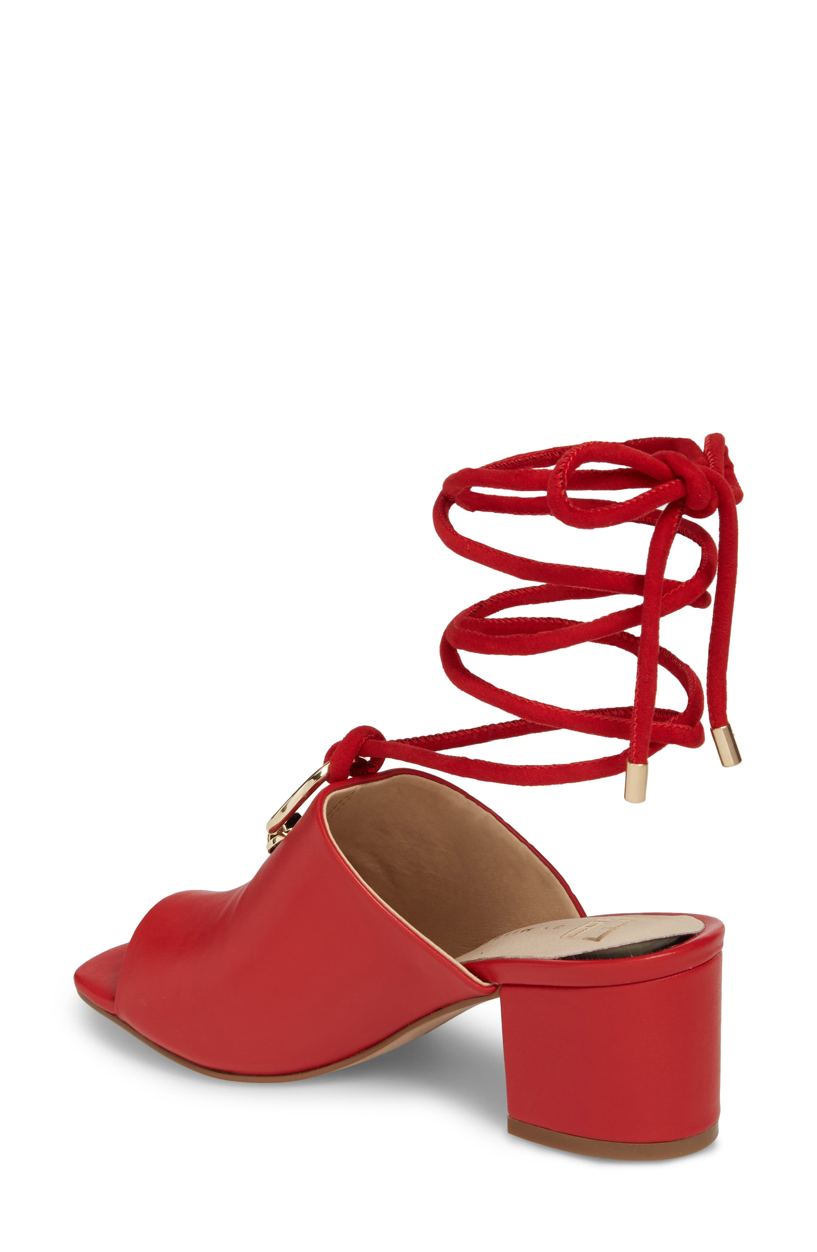 Mason Ankle Tie Sandal,                             Alternate thumbnail 2, color,                             Red Leather