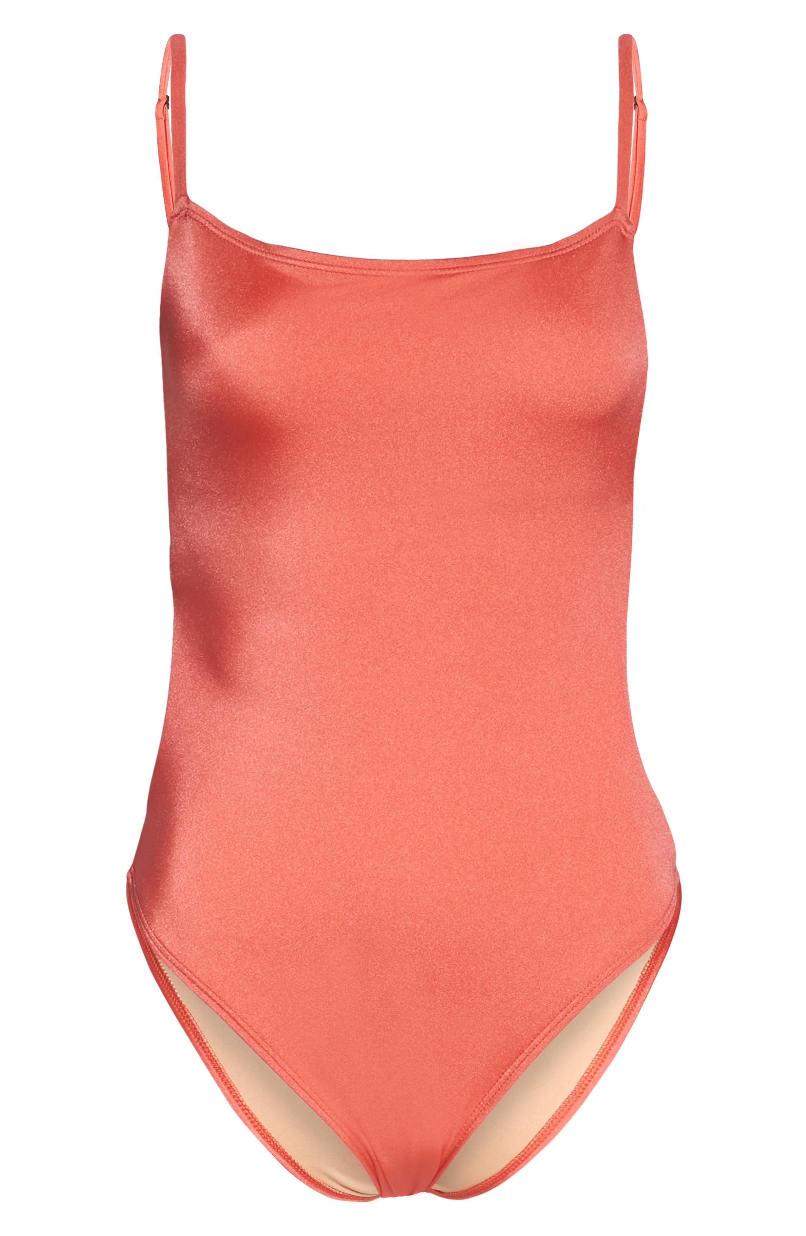 Retro One-Piece Swimsuit,                             Alternate thumbnail 6, color,                             Coral Glow
