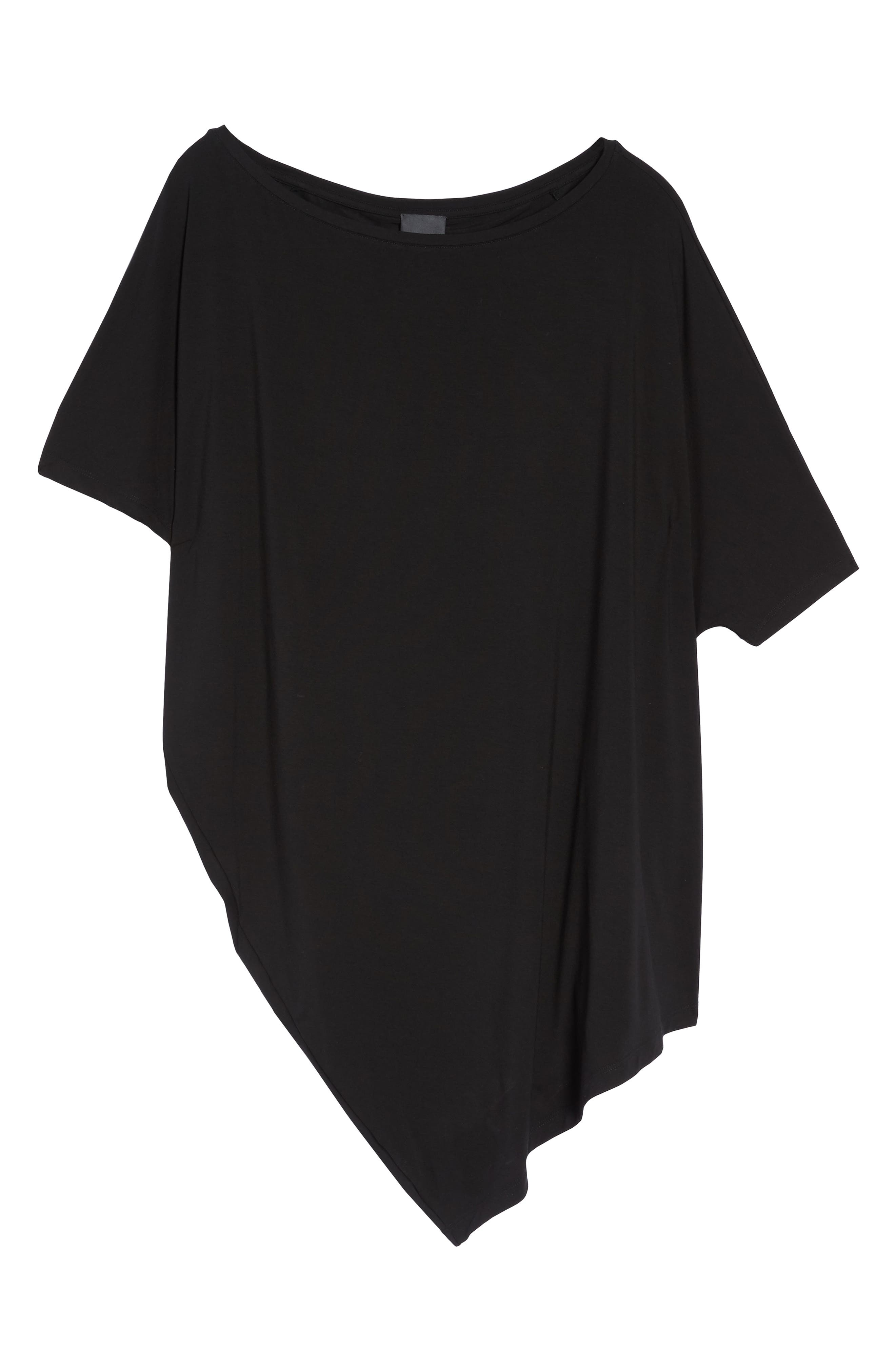 Asymmetrical Tunic Top,                             Alternate thumbnail 7, color,                             Black