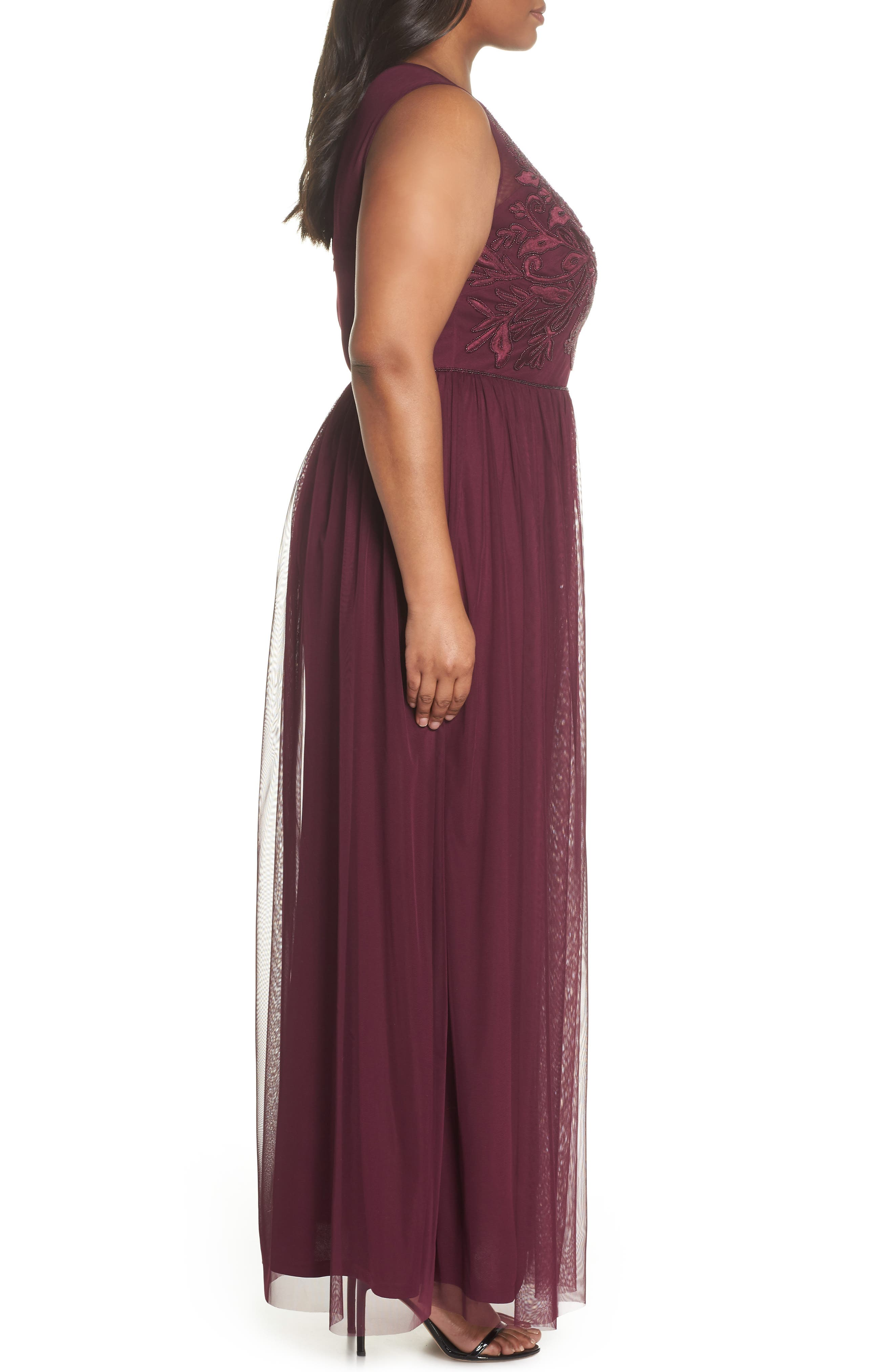 Beaded Gown,                             Alternate thumbnail 3, color,                             Cabernet