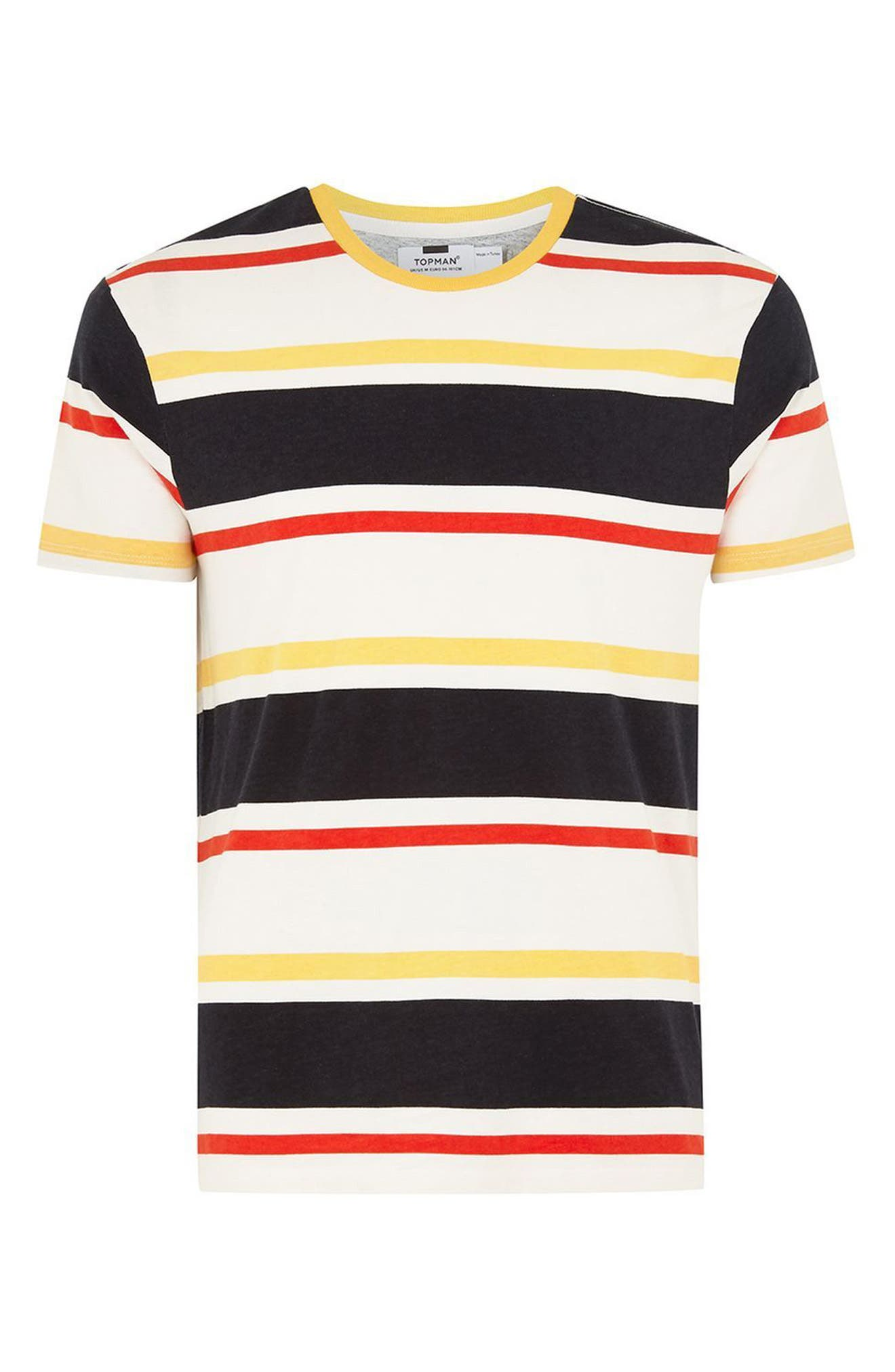 Slim Fit Stripe T-Shirt,                             Alternate thumbnail 4, color,                             Yellow Multi