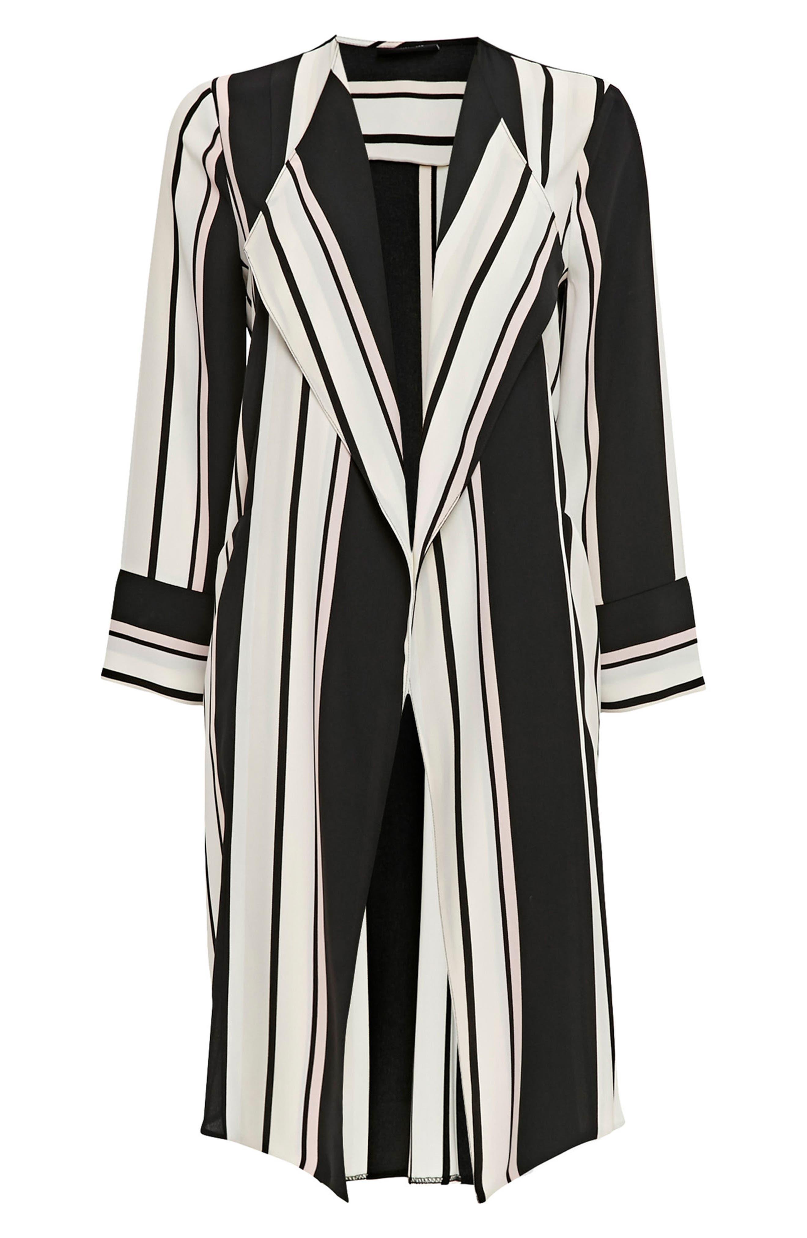 Cut About Stella Stripe Duster Coat,                             Main thumbnail 1, color,                             Black